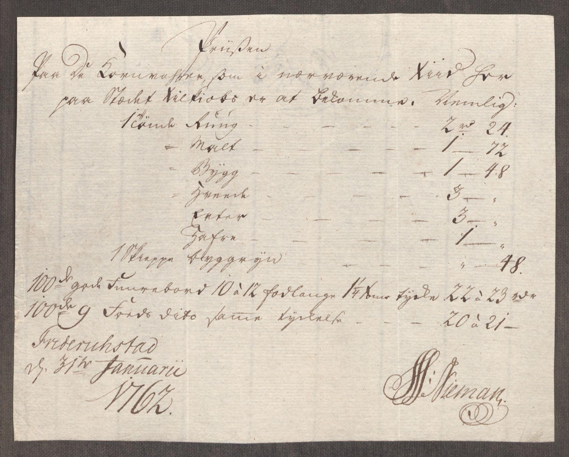RA, Rentekammeret inntil 1814, Realistisk ordnet avdeling, Oe/L0007: [Ø1]: Priskuranter, 1761-1763, s. 292