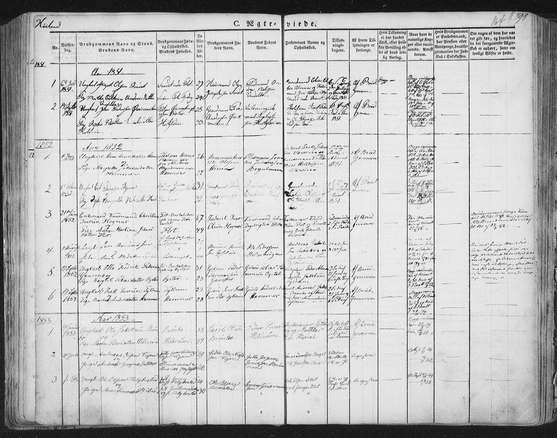 SAT, Ministerialprotokoller, klokkerbøker og fødselsregistre - Nord-Trøndelag, 758/L0513: Ministerialbok nr. 758A02 /2, 1839-1868, s. 164
