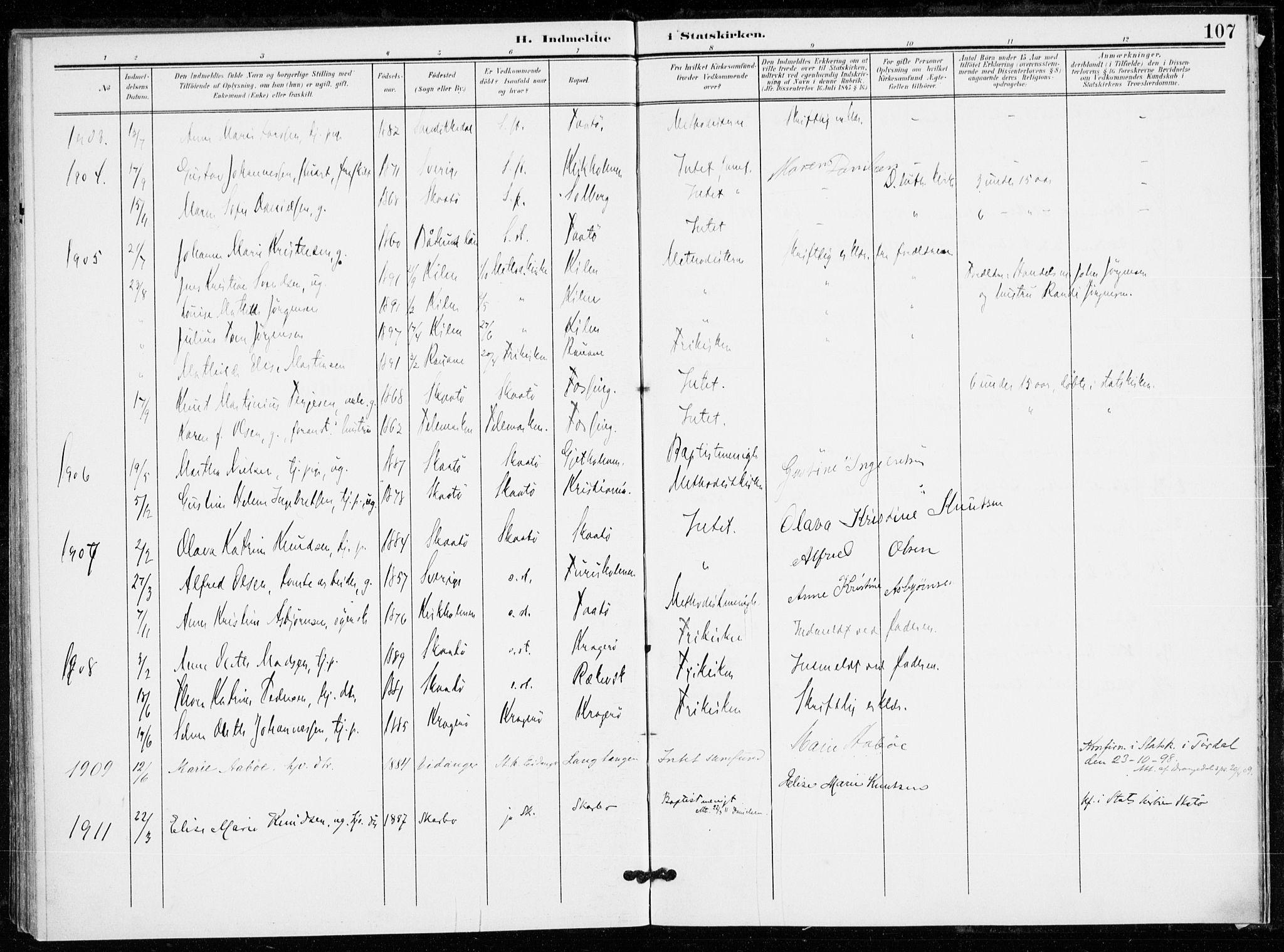 SAKO, Skåtøy kirkebøker, F/Fa/L0005: Ministerialbok nr. I 5, 1901-1923, s. 107