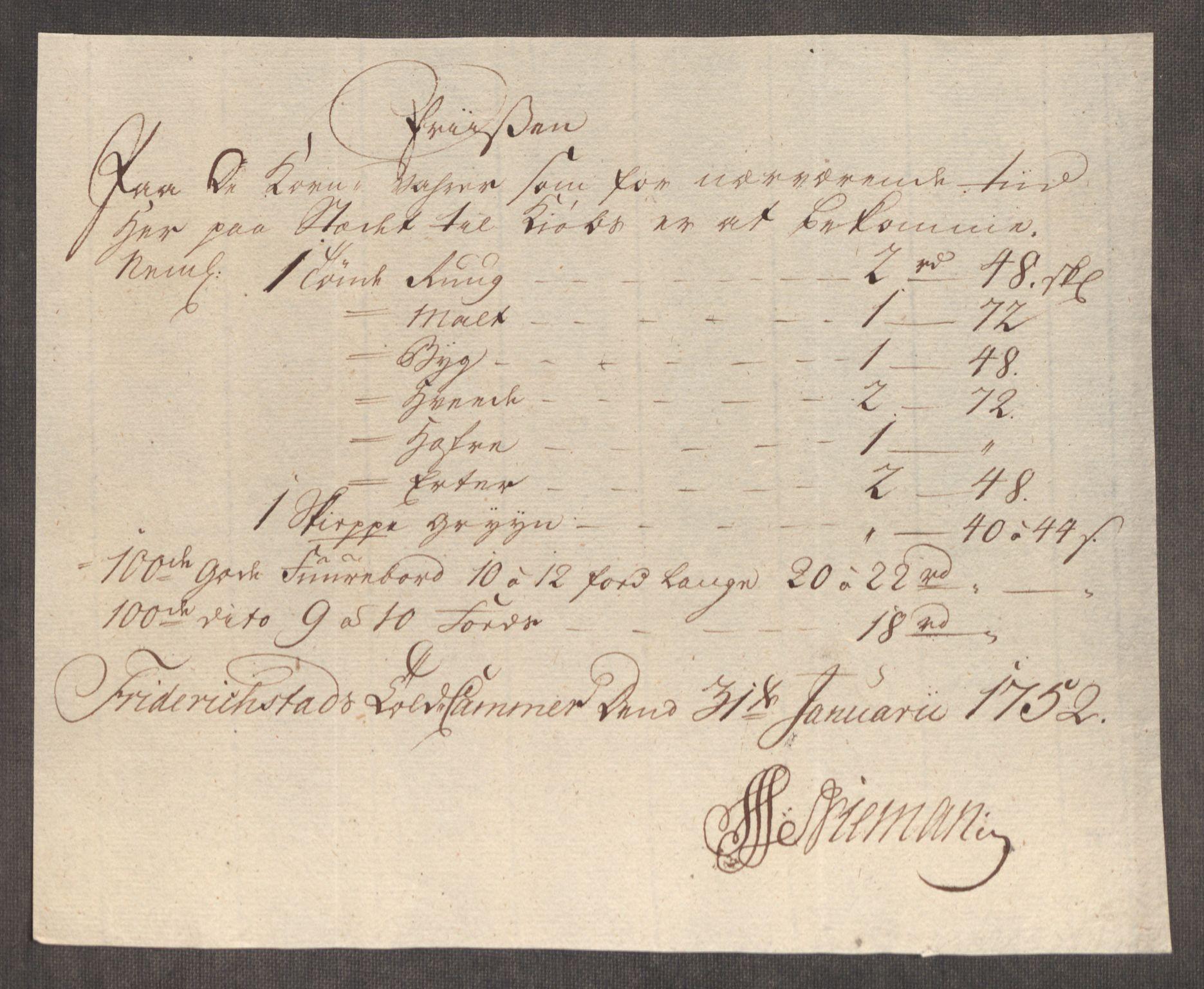 RA, Rentekammeret inntil 1814, Realistisk ordnet avdeling, Oe/L0004: [Ø1]: Priskuranter, 1749-1752, s. 756