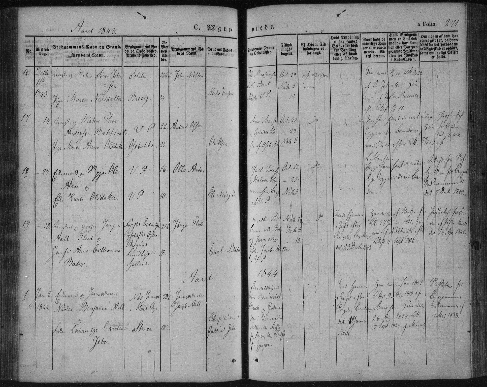 SAKO, Porsgrunn kirkebøker , F/Fa/L0006: Ministerialbok nr. 6, 1841-1857, s. 271