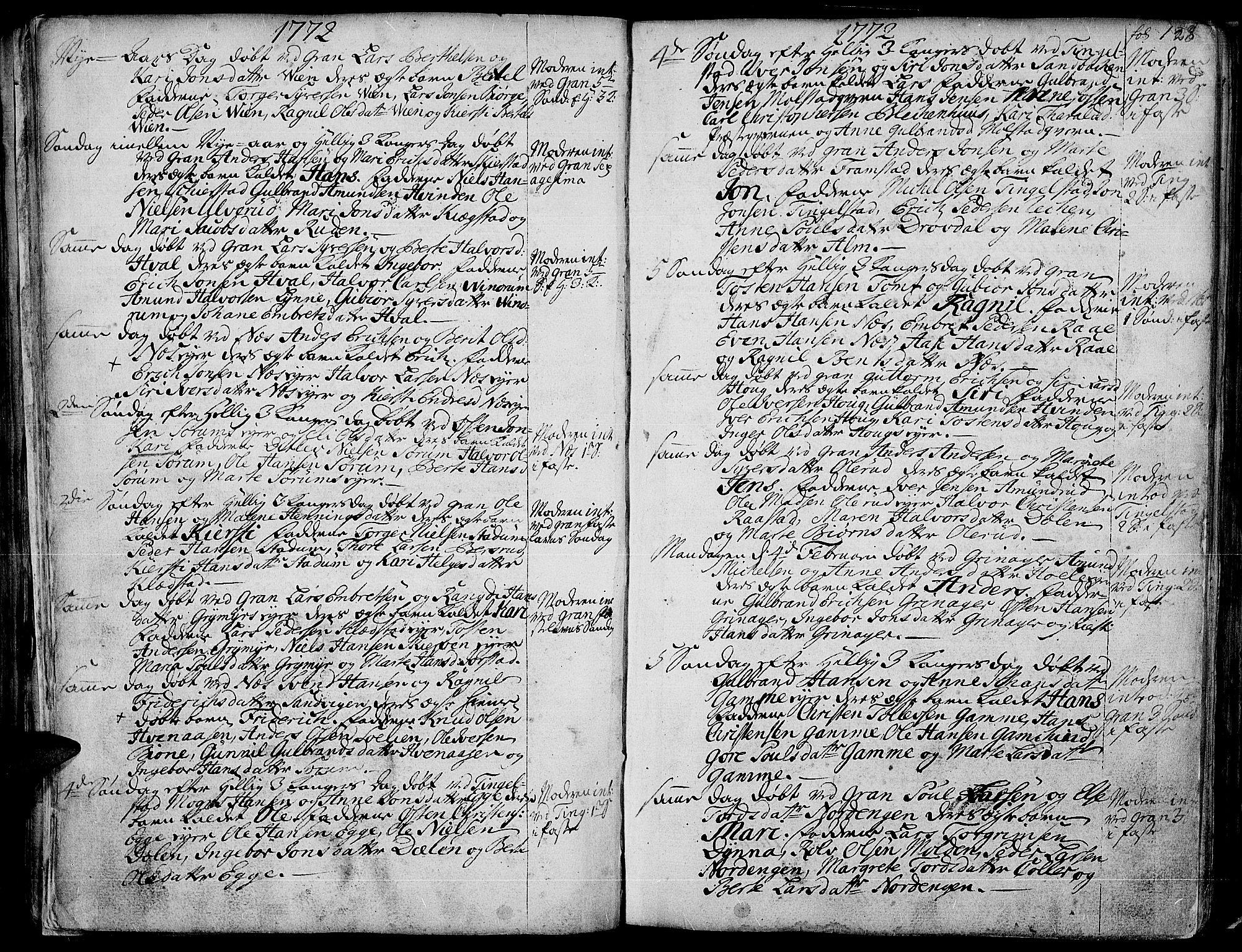 SAH, Gran prestekontor, Ministerialbok nr. 4, 1759-1775, s. 128