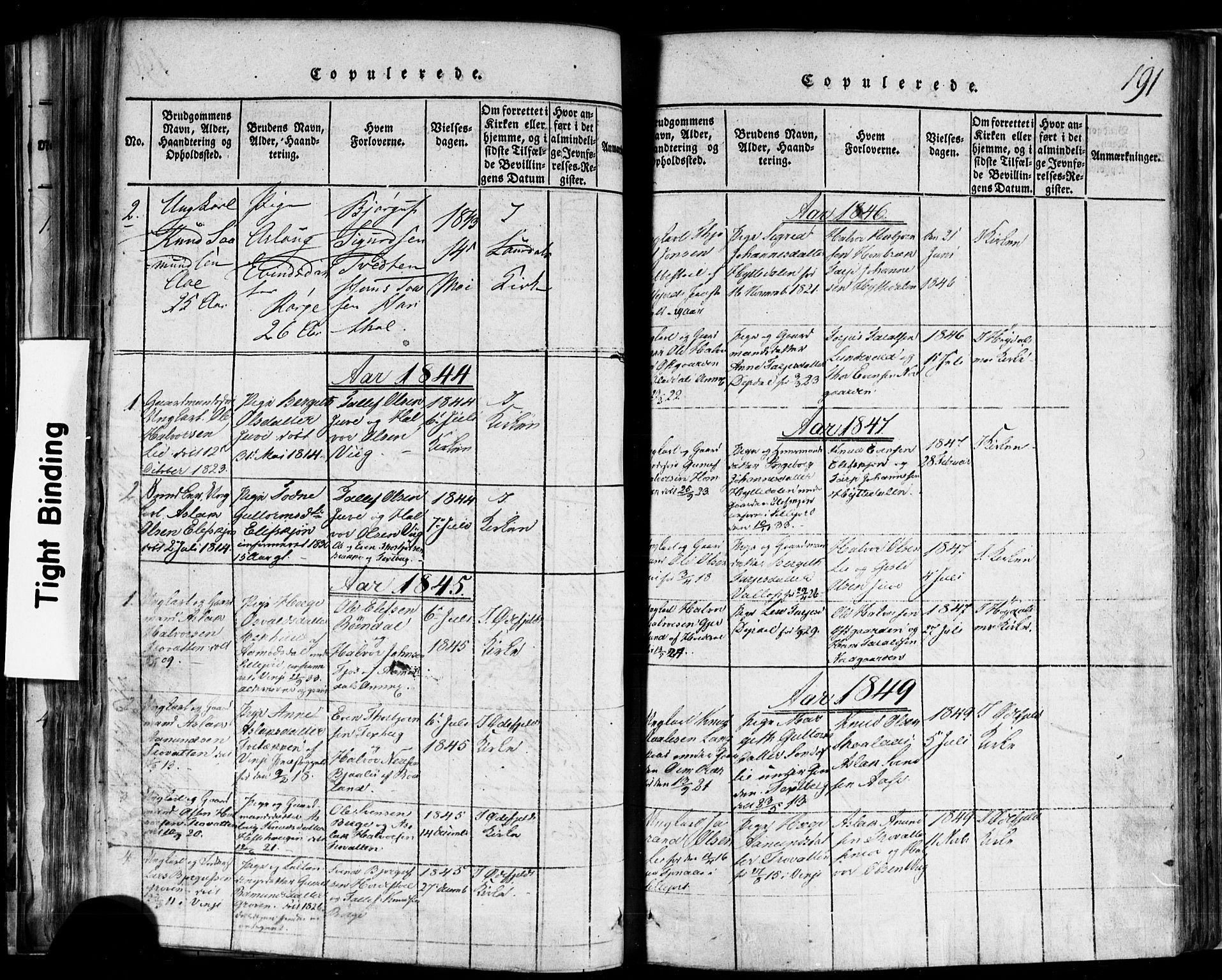 SAKO, Rauland kirkebøker, F/Fa/L0002: Ministerialbok nr. 2, 1815-1860, s. 191