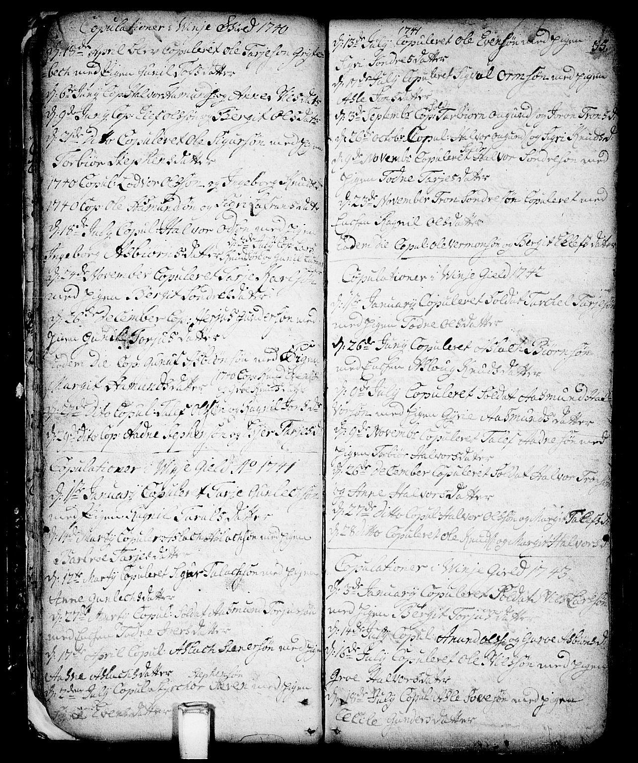SAKO, Vinje kirkebøker, F/Fa/L0001: Ministerialbok nr. I 1, 1717-1766, s. 35