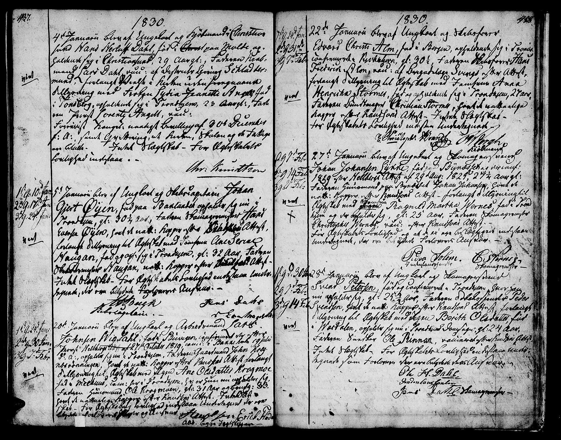 SAT, Ministerialprotokoller, klokkerbøker og fødselsregistre - Sør-Trøndelag, 601/L0042: Ministerialbok nr. 601A10, 1802-1830, s. 437-438