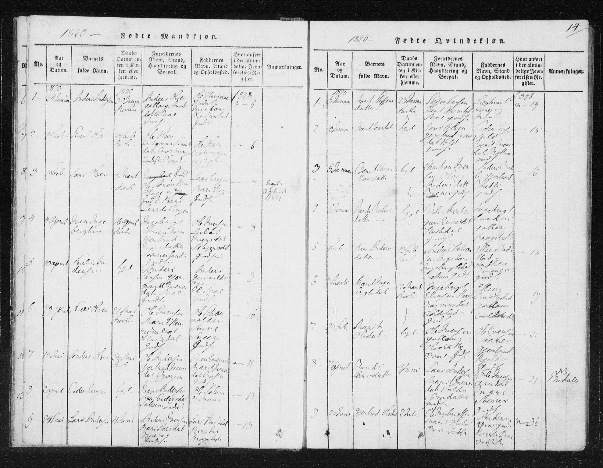 SAT, Ministerialprotokoller, klokkerbøker og fødselsregistre - Sør-Trøndelag, 687/L0996: Ministerialbok nr. 687A04, 1816-1842, s. 14