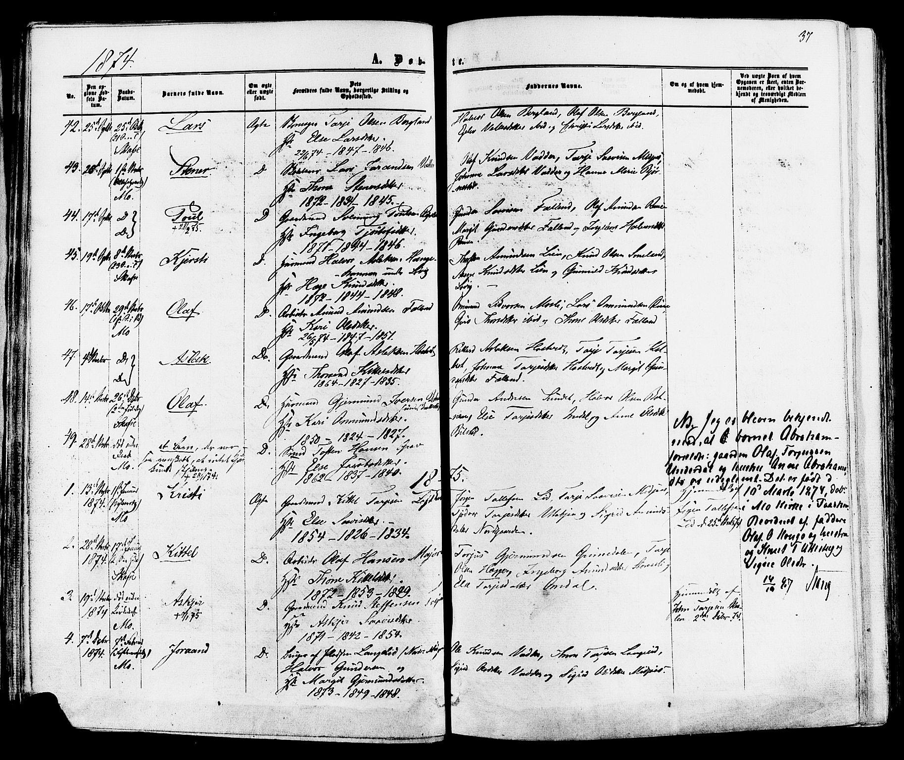 SAKO, Mo kirkebøker, F/Fa/L0006: Ministerialbok nr. I 6, 1865-1885, s. 37