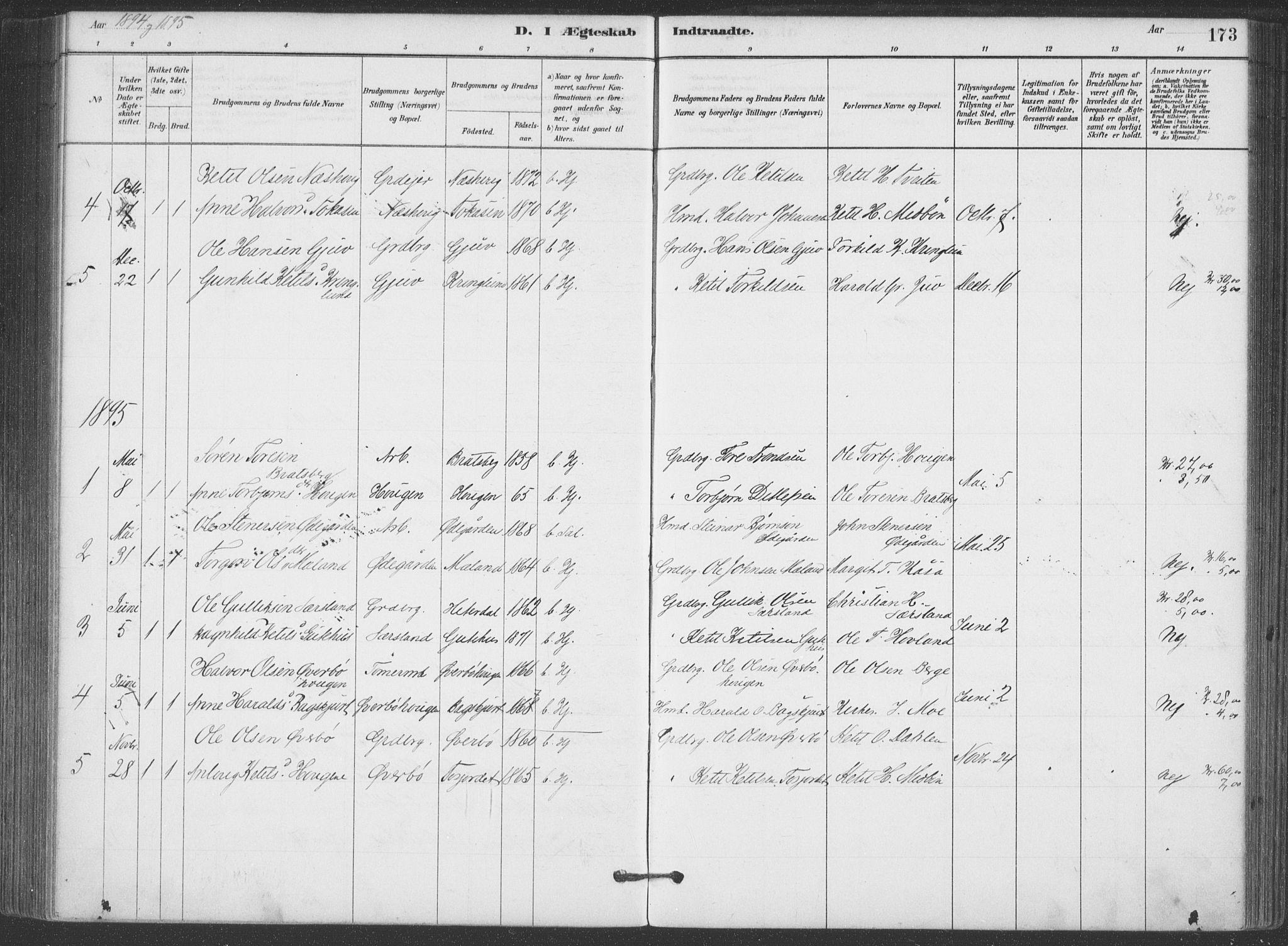 SAKO, Hjartdal kirkebøker, F/Fa/L0010: Ministerialbok nr. I 10, 1880-1929, s. 173
