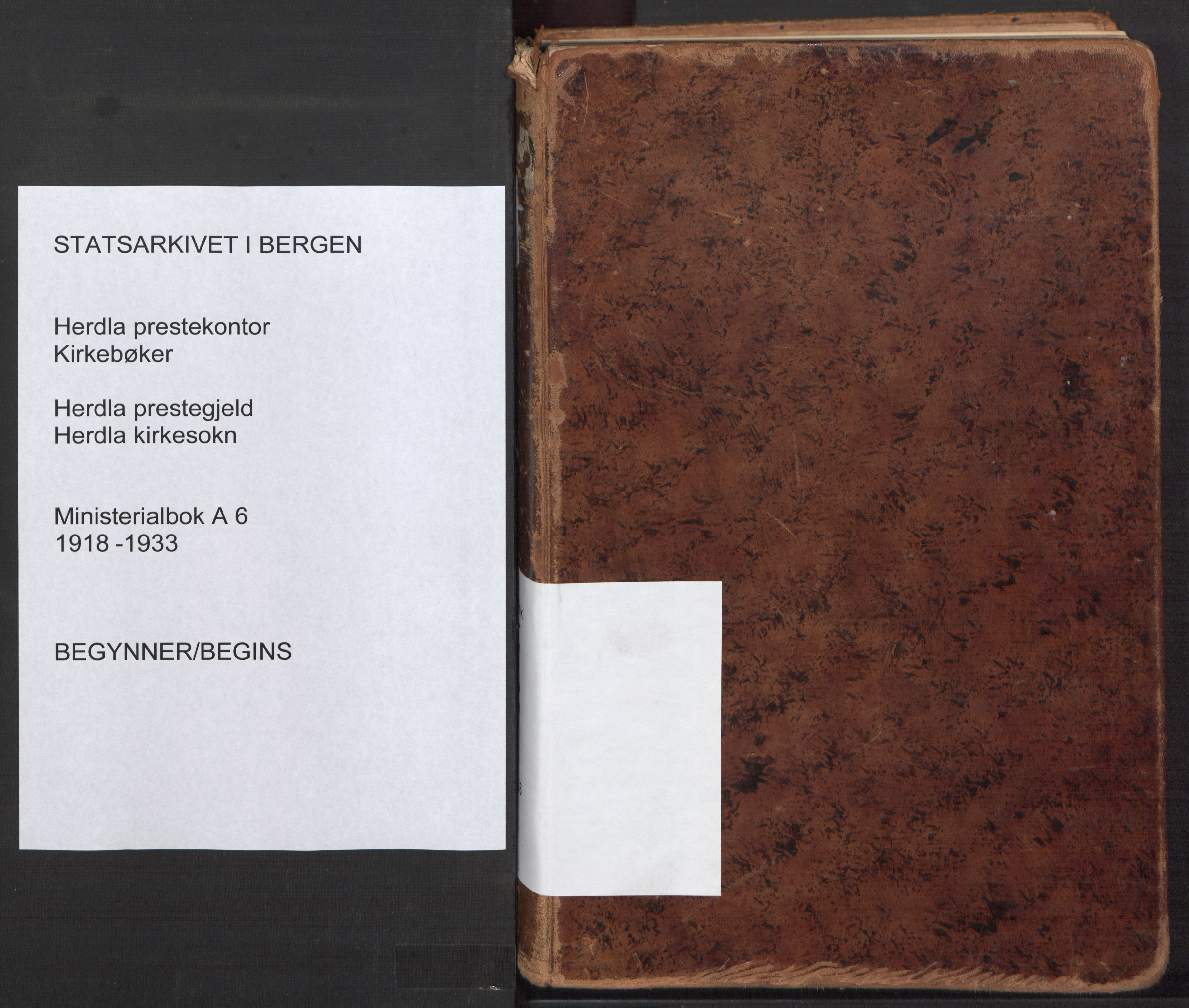 SAB, Herdla Sokneprestembete, H/Haa: Ministerialbok nr. A 6, 1918-1933