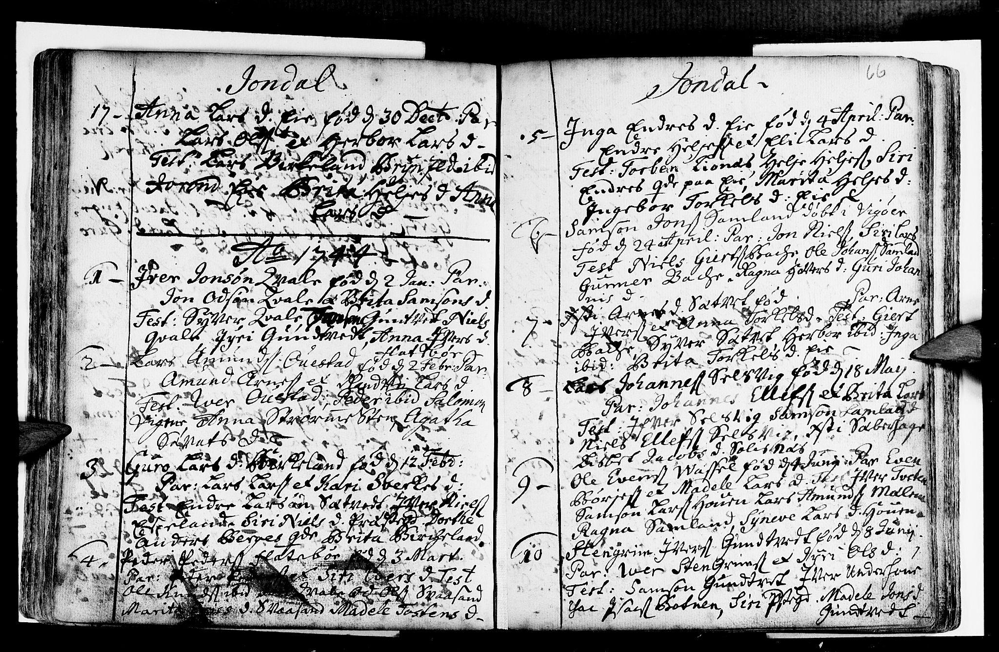 SAB, Strandebarm sokneprestembete, H/Haa: Ministerialbok nr. A 2 /2, 1727-1750, s. 66