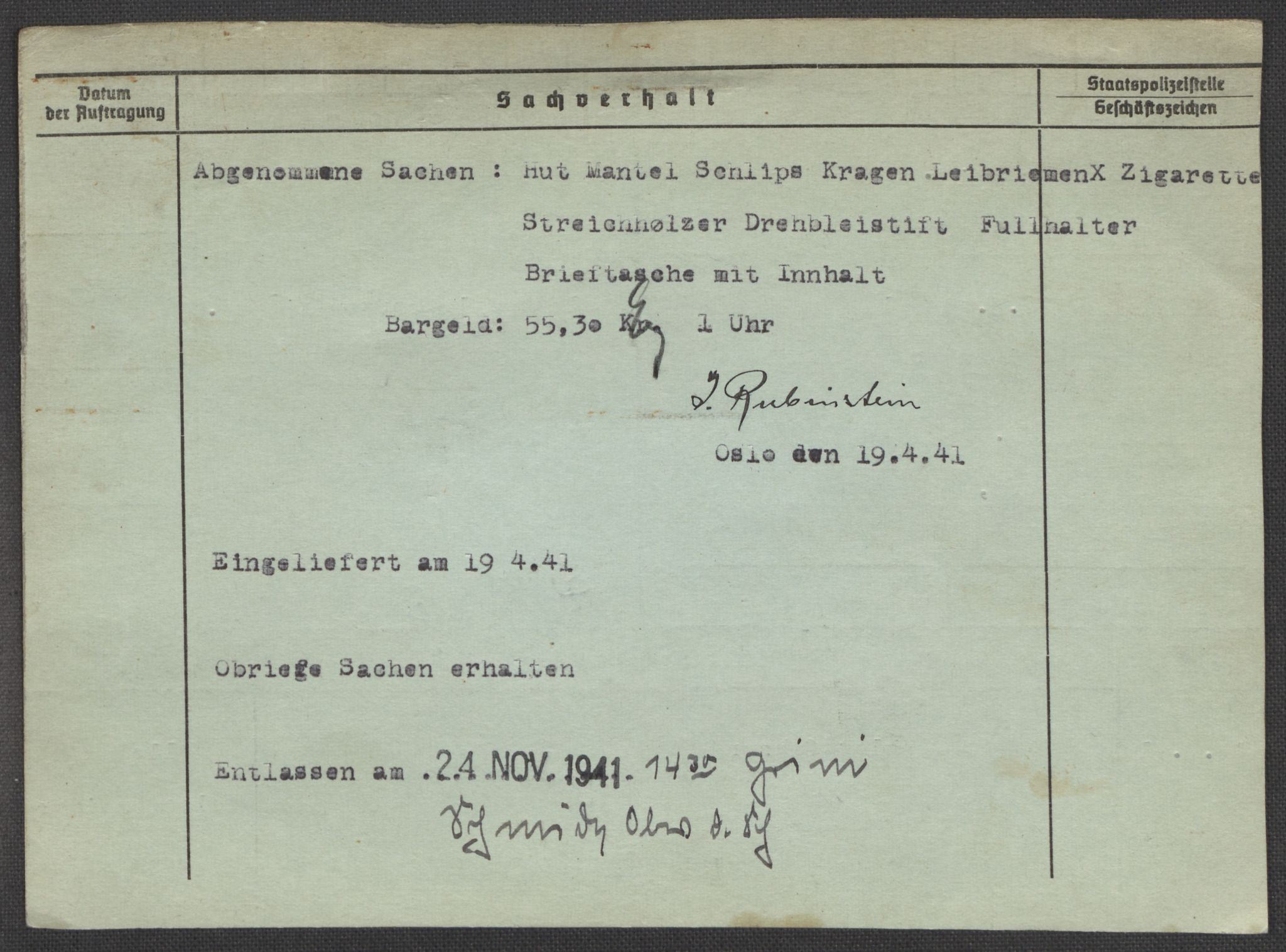 RA, Befehlshaber der Sicherheitspolizei und des SD, E/Ea/Eaa/L0009: Register over norske fanger i Møllergata 19: Ru-Sy, 1940-1945, s. 3
