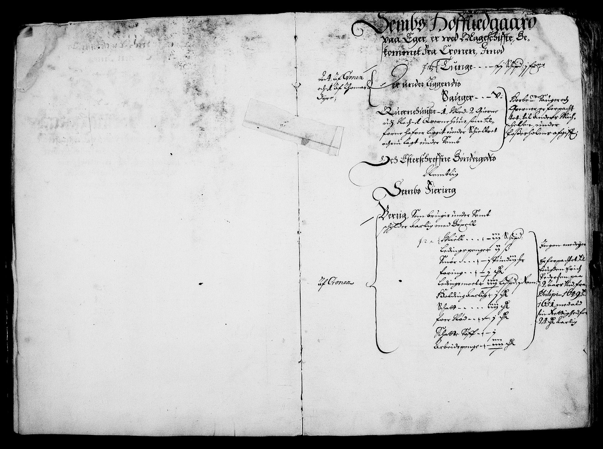 RA, Rentekammeret inntil 1814, Realistisk ordnet avdeling, On/L0001: Statens gods, 1651, s. 3