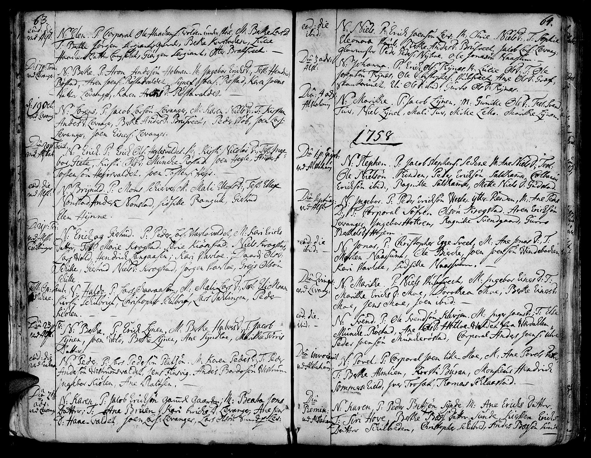 SAT, Ministerialprotokoller, klokkerbøker og fødselsregistre - Nord-Trøndelag, 717/L0141: Ministerialbok nr. 717A01, 1747-1803, s. 63-64