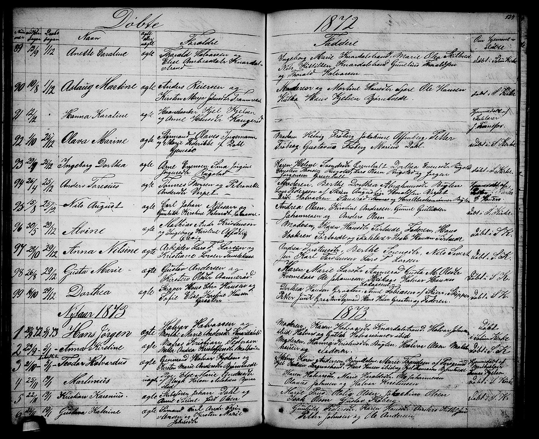 SAKO, Solum kirkebøker, G/Ga/L0004: Klokkerbok nr. I 4, 1859-1876, s. 124