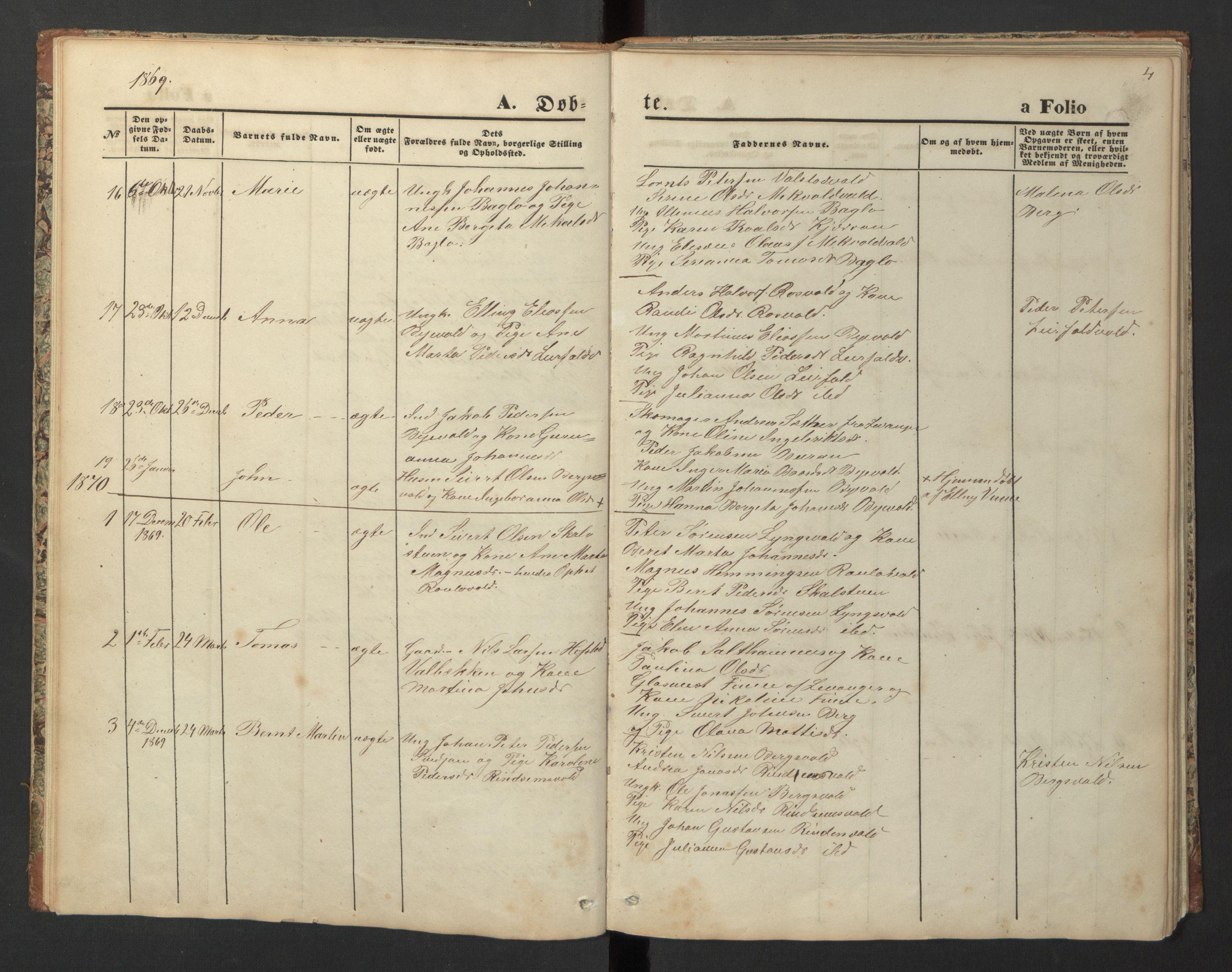 SAT, Ministerialprotokoller, klokkerbøker og fødselsregistre - Nord-Trøndelag, 726/L0271: Klokkerbok nr. 726C02, 1869-1897, s. 4