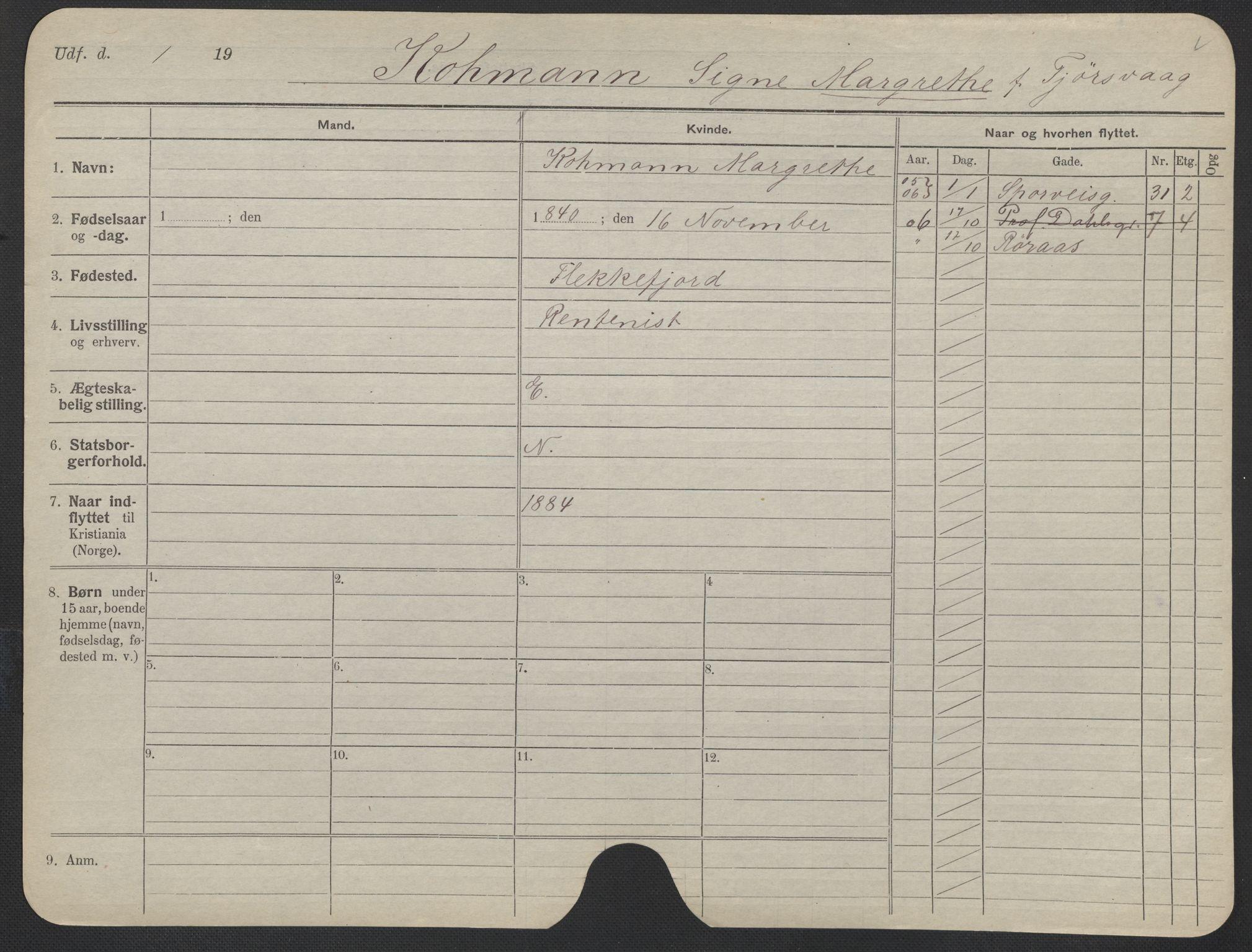 SAO, Oslo folkeregister, Registerkort, F/Fa/Fac/L0019: Kvinner, 1906-1914, s. 26a