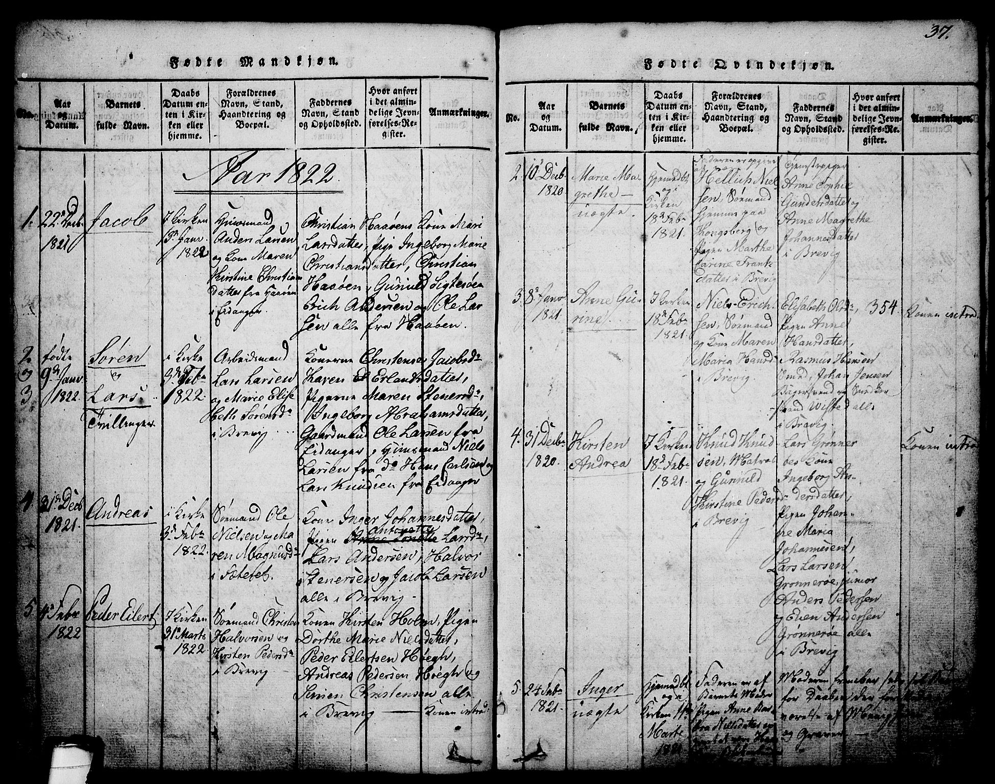 SAKO, Brevik kirkebøker, G/Ga/L0001: Klokkerbok nr. 1, 1814-1845, s. 37