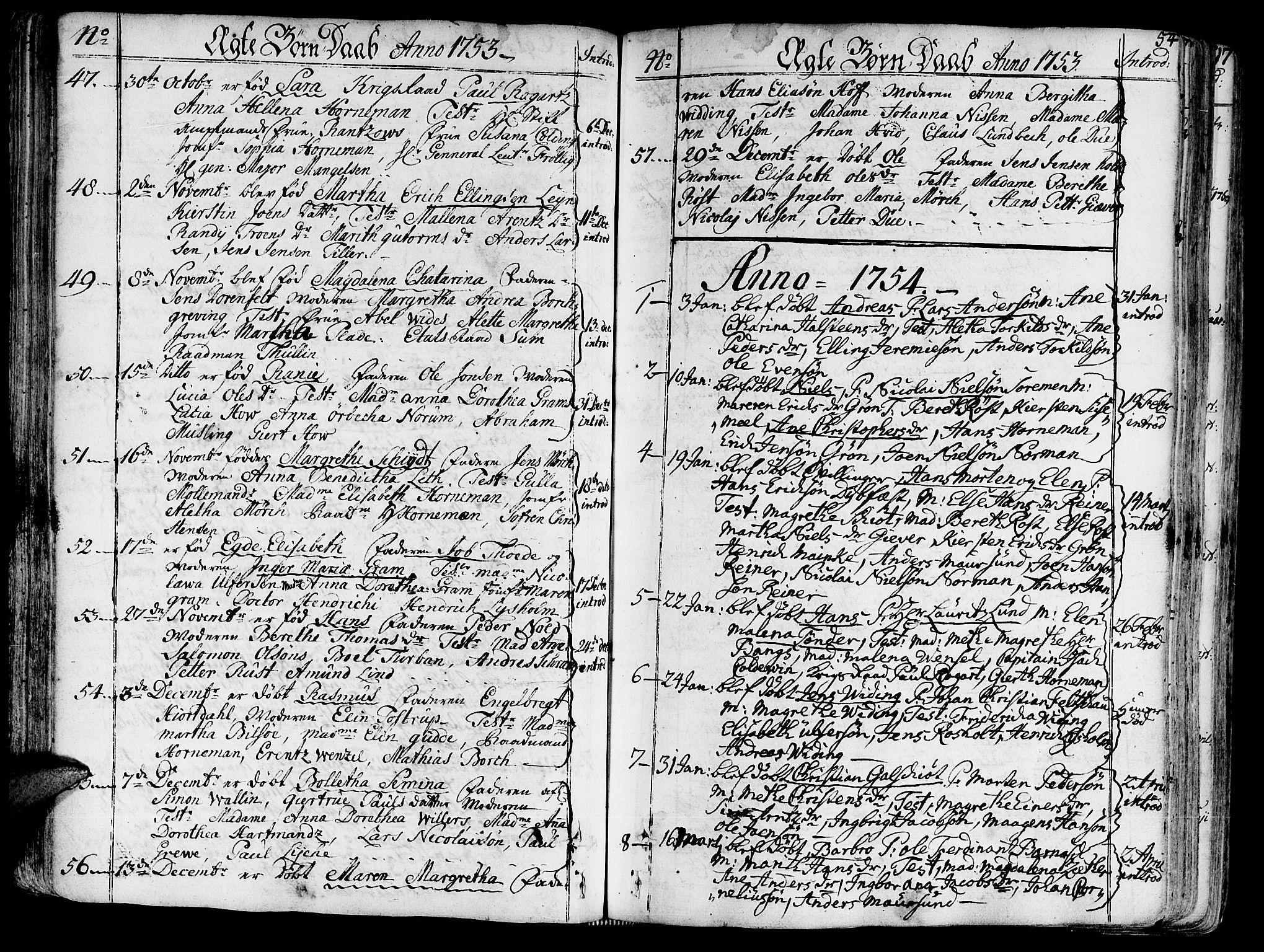 SAT, Ministerialprotokoller, klokkerbøker og fødselsregistre - Sør-Trøndelag, 602/L0103: Ministerialbok nr. 602A01, 1732-1774, s. 54