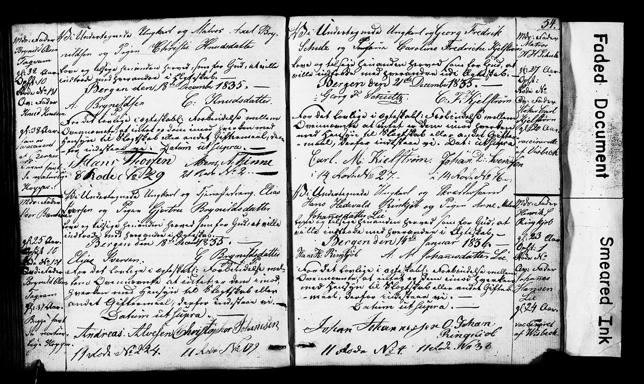 SAB, Domkirken Sokneprestembete, Forlovererklæringer nr. II.5.3, 1832-1845, s. 54