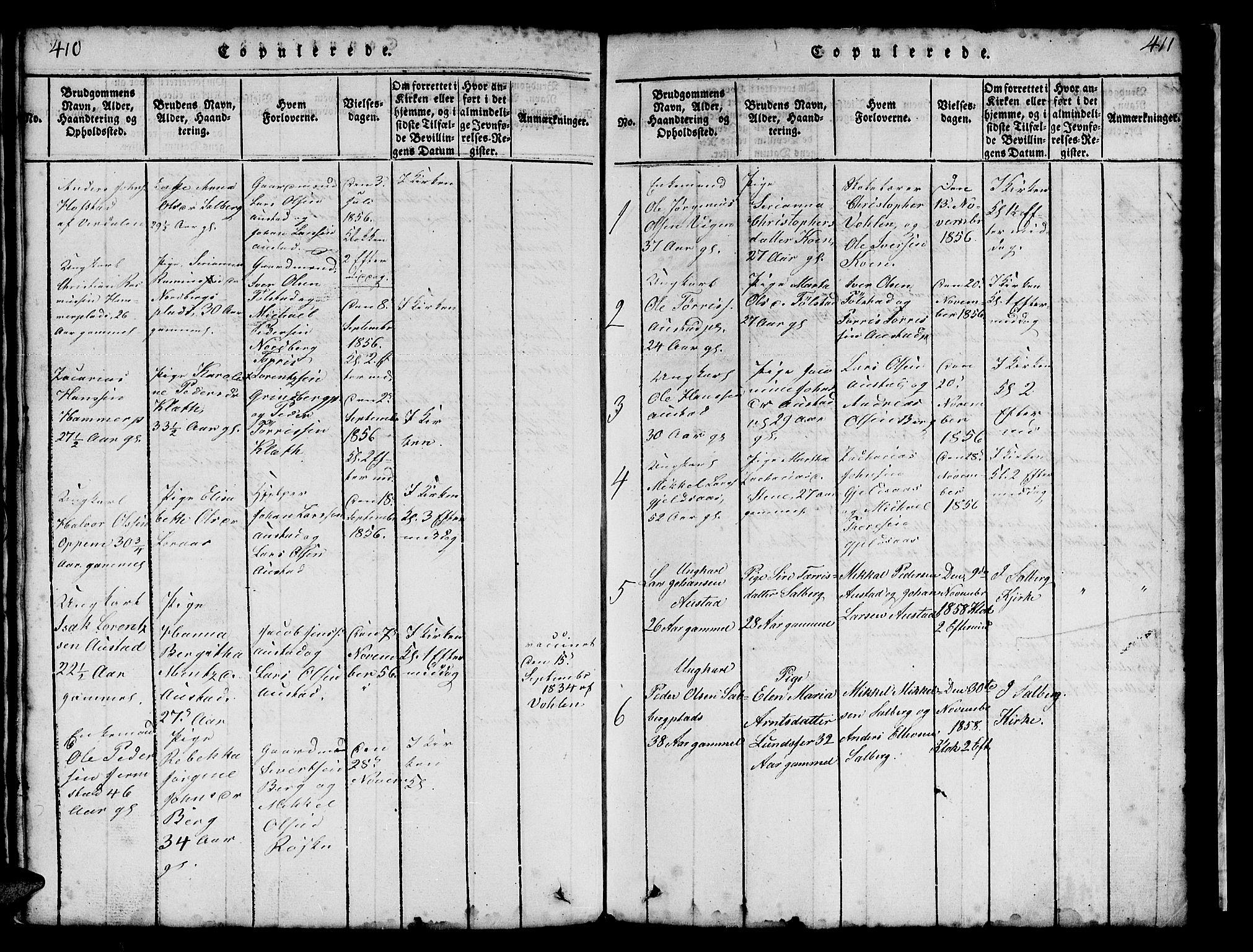SAT, Ministerialprotokoller, klokkerbøker og fødselsregistre - Nord-Trøndelag, 731/L0310: Klokkerbok nr. 731C01, 1816-1874, s. 410-411
