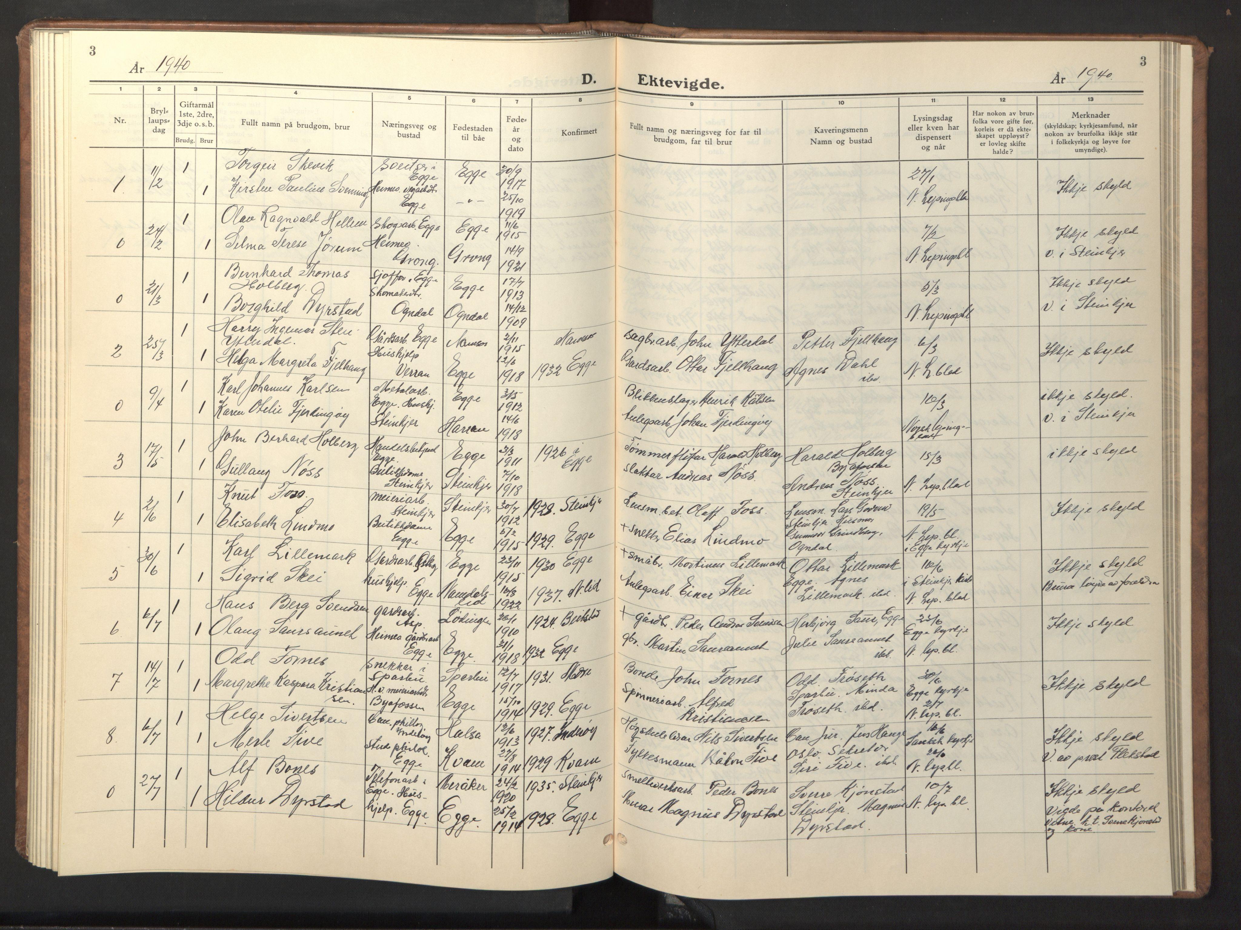 SAT, Ministerialprotokoller, klokkerbøker og fødselsregistre - Nord-Trøndelag, 740/L0384: Klokkerbok nr. 740C05, 1939-1946, s. 3