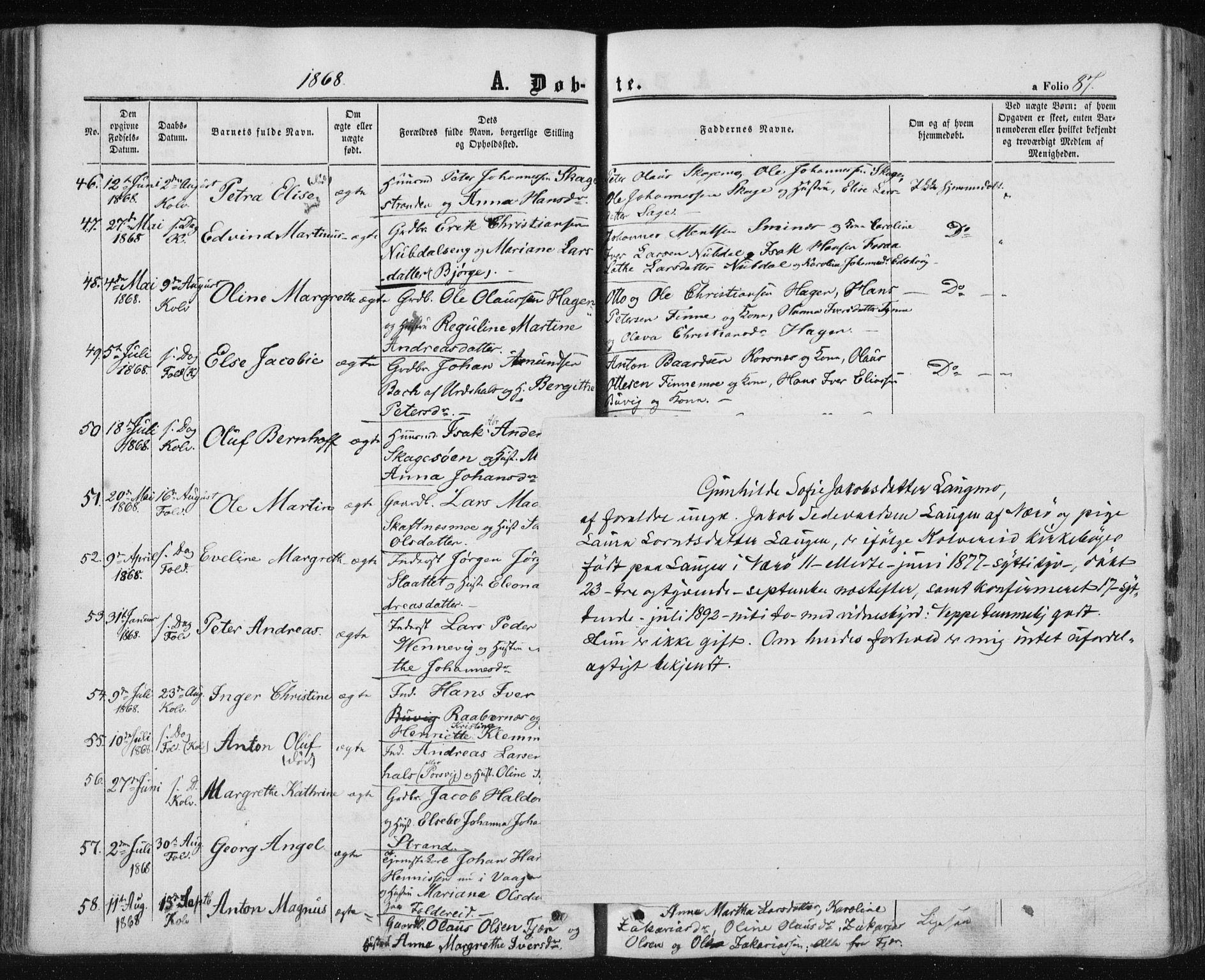 SAT, Ministerialprotokoller, klokkerbøker og fødselsregistre - Nord-Trøndelag, 780/L0641: Ministerialbok nr. 780A06, 1857-1874, s. 87
