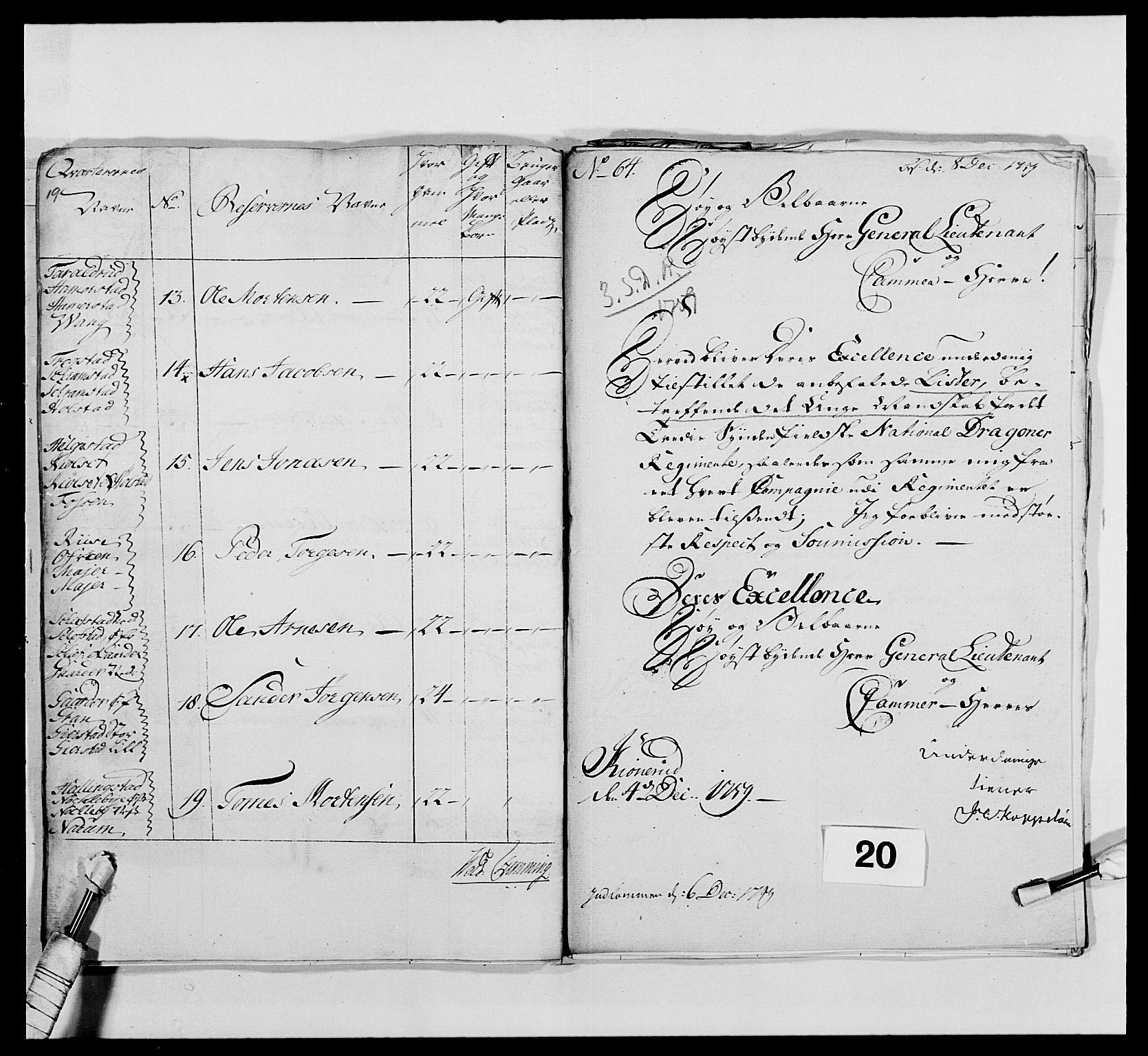 RA, Kommanderende general (KG I) med Det norske krigsdirektorium, E/Ea/L0479: 3. Sønnafjelske dragonregiment, 1756-1760, s. 375