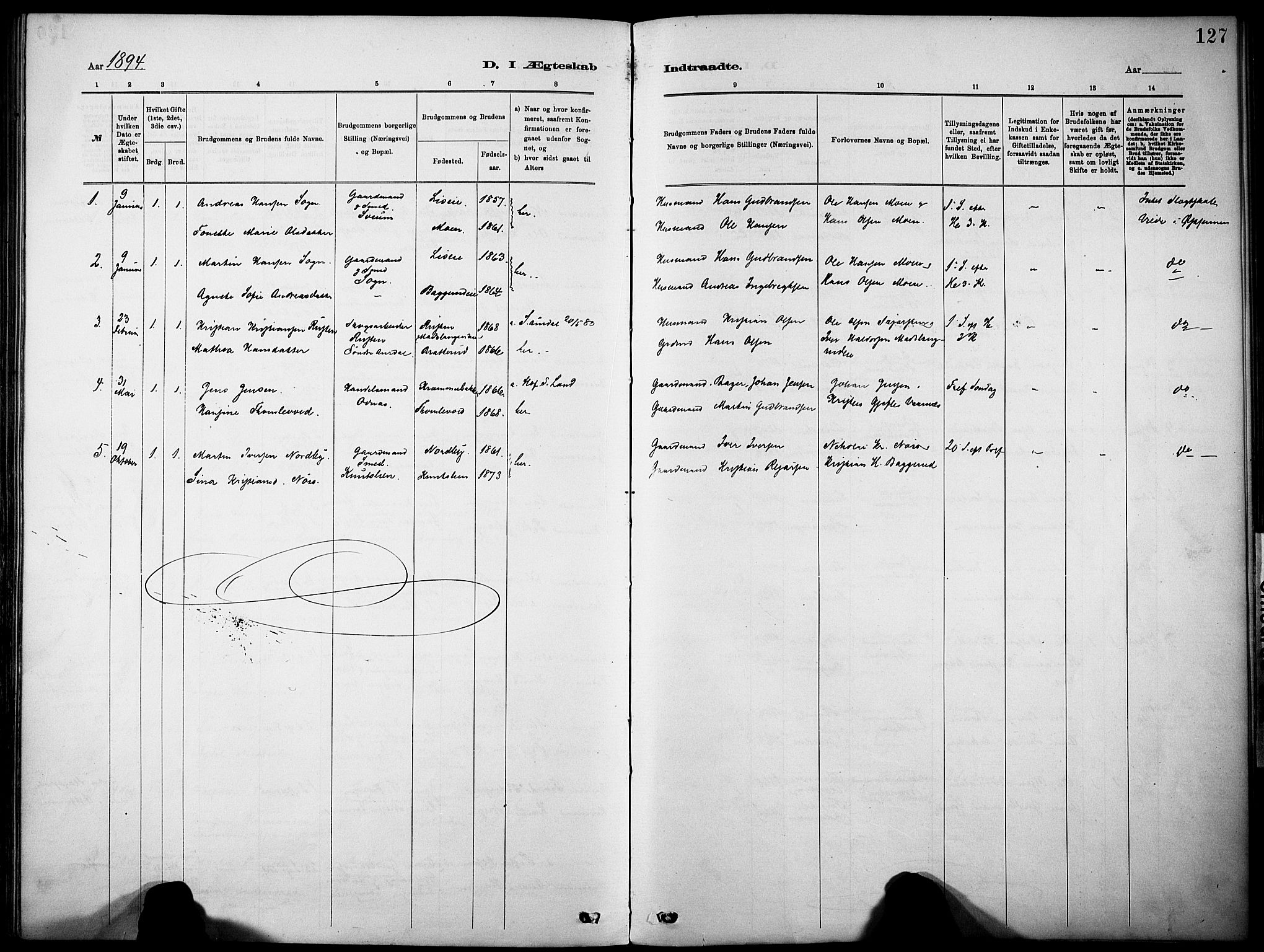 SAH, Nordre Land prestekontor, Ministerialbok nr. 5, 1882-1903, s. 127