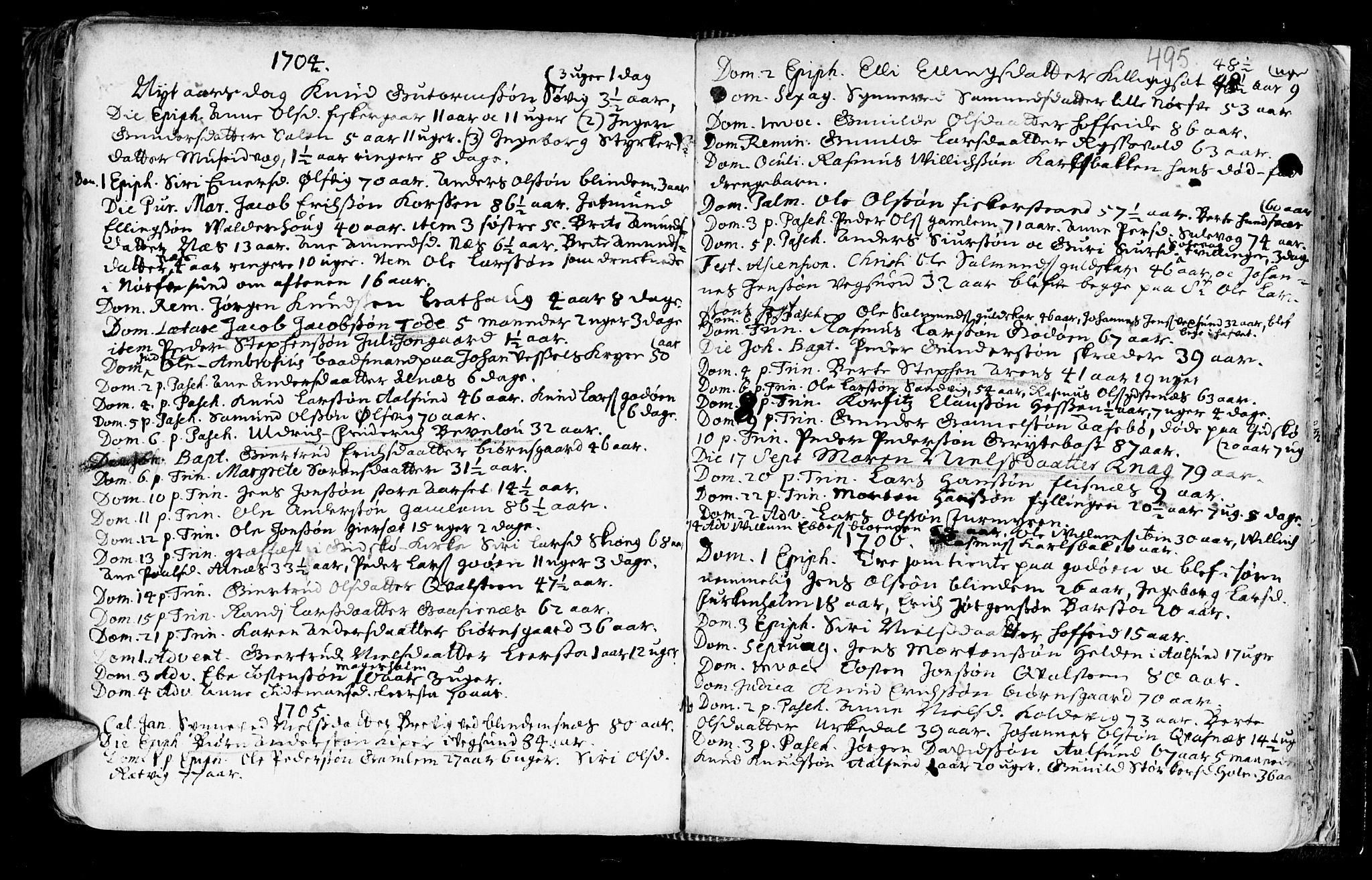 SAT, Ministerialprotokoller, klokkerbøker og fødselsregistre - Møre og Romsdal, 528/L0390: Ministerialbok nr. 528A01, 1698-1739, s. 494-495