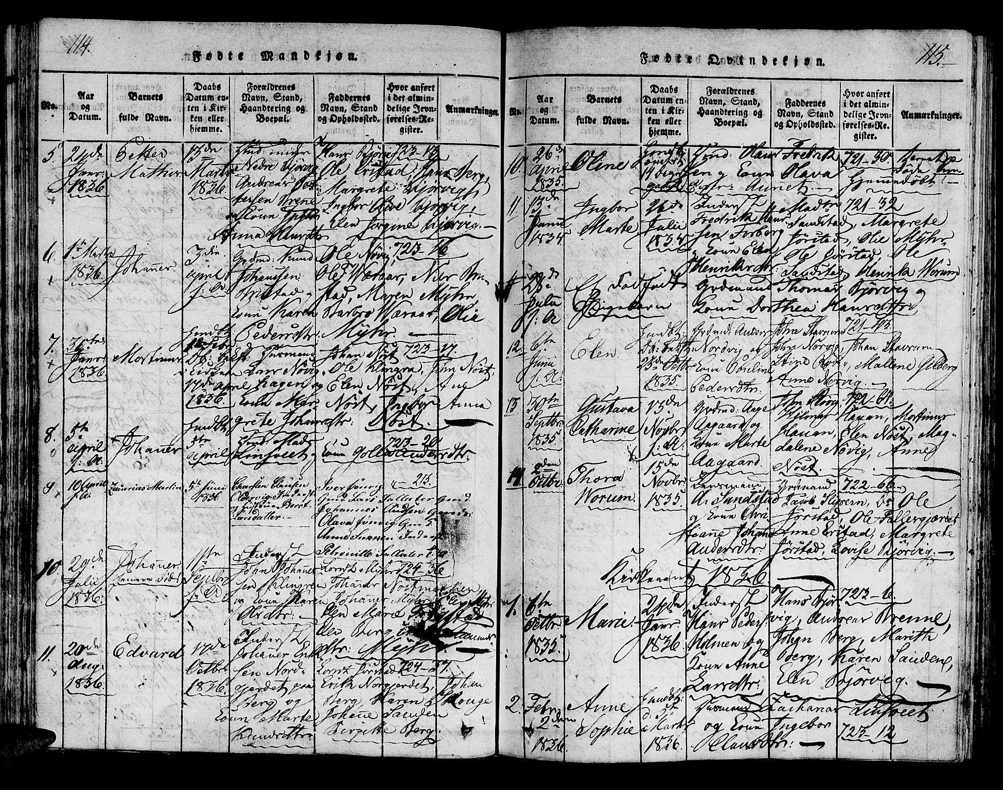 SAT, Ministerialprotokoller, klokkerbøker og fødselsregistre - Nord-Trøndelag, 722/L0217: Ministerialbok nr. 722A04, 1817-1842, s. 114-115