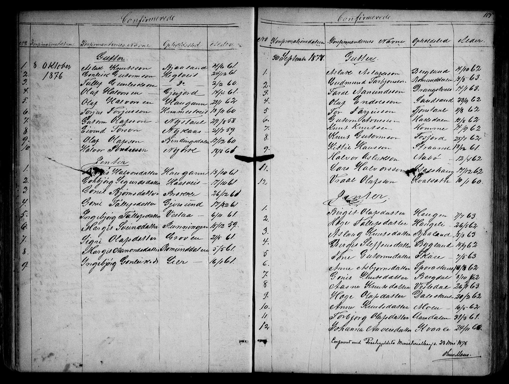 SAKO, Kviteseid kirkebøker, G/Gb/L0002: Klokkerbok nr. II 2, 1850-1892, s. 105