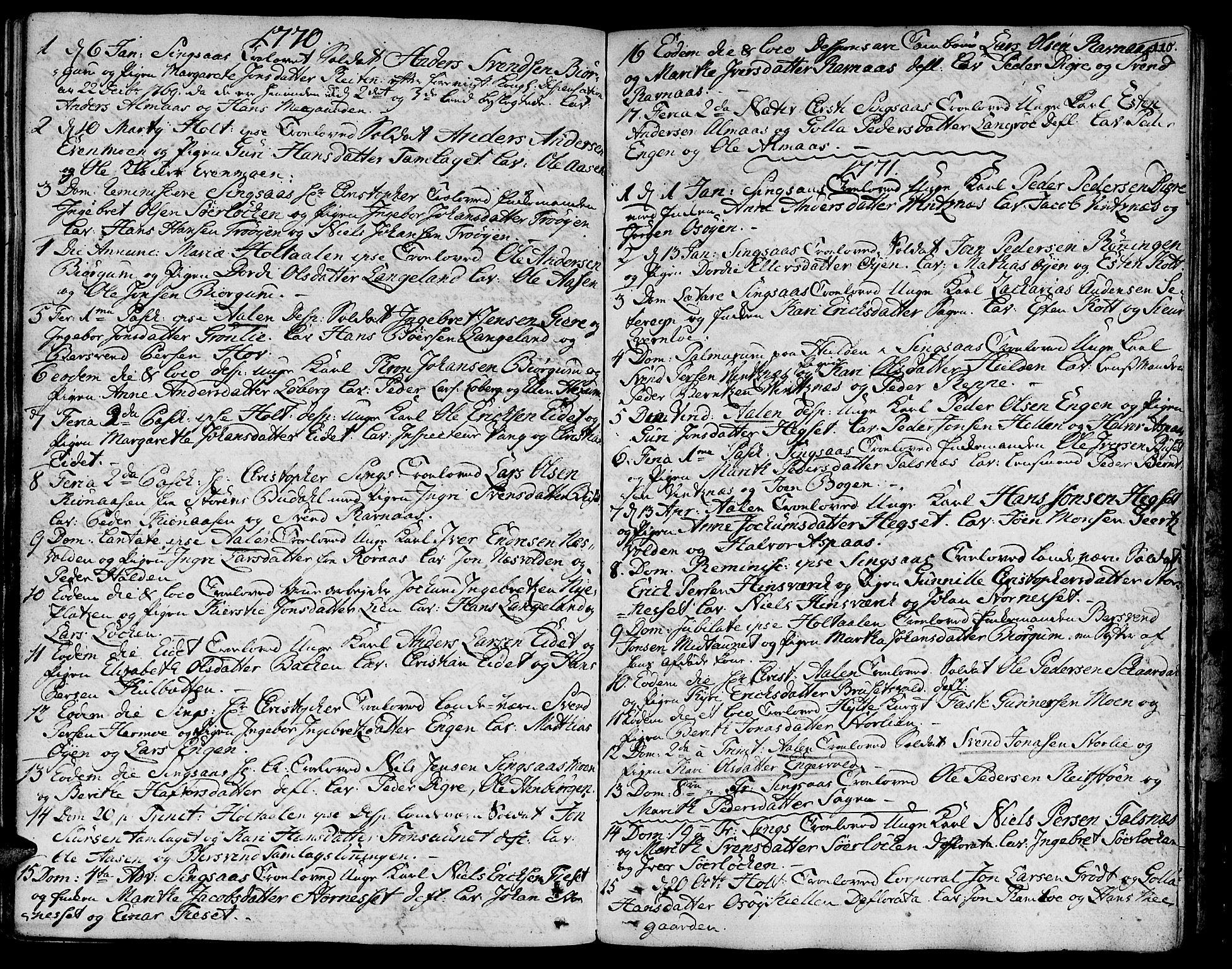 SAT, Ministerialprotokoller, klokkerbøker og fødselsregistre - Sør-Trøndelag, 685/L0952: Ministerialbok nr. 685A01, 1745-1804, s. 110