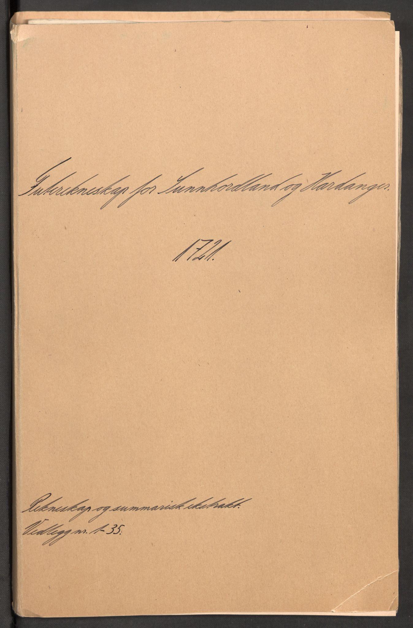 RA, Rentekammeret inntil 1814, Reviderte regnskaper, Fogderegnskap, R48/L3000: Fogderegnskap Sunnhordland og Hardanger, 1721, s. 2
