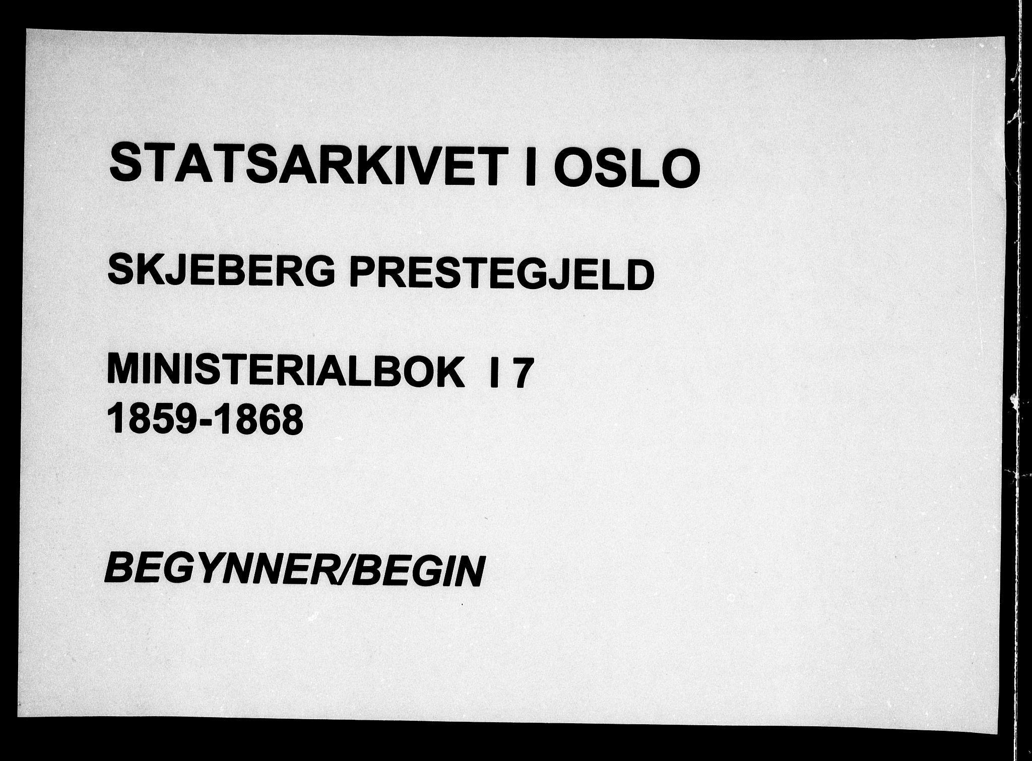 SAO, Skjeberg prestekontor Kirkebøker, F/Fa/L0007: Ministerialbok nr. I 7, 1859-1868