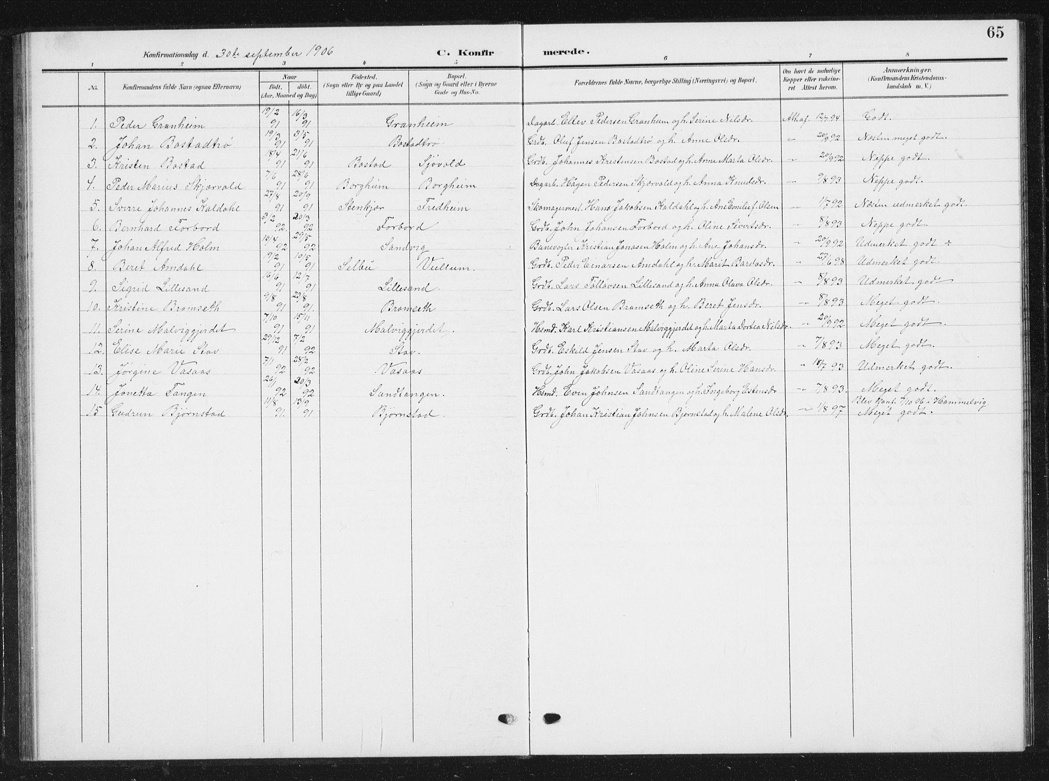 SAT, Ministerialprotokoller, klokkerbøker og fødselsregistre - Sør-Trøndelag, 616/L0424: Klokkerbok nr. 616C07, 1904-1940, s. 65
