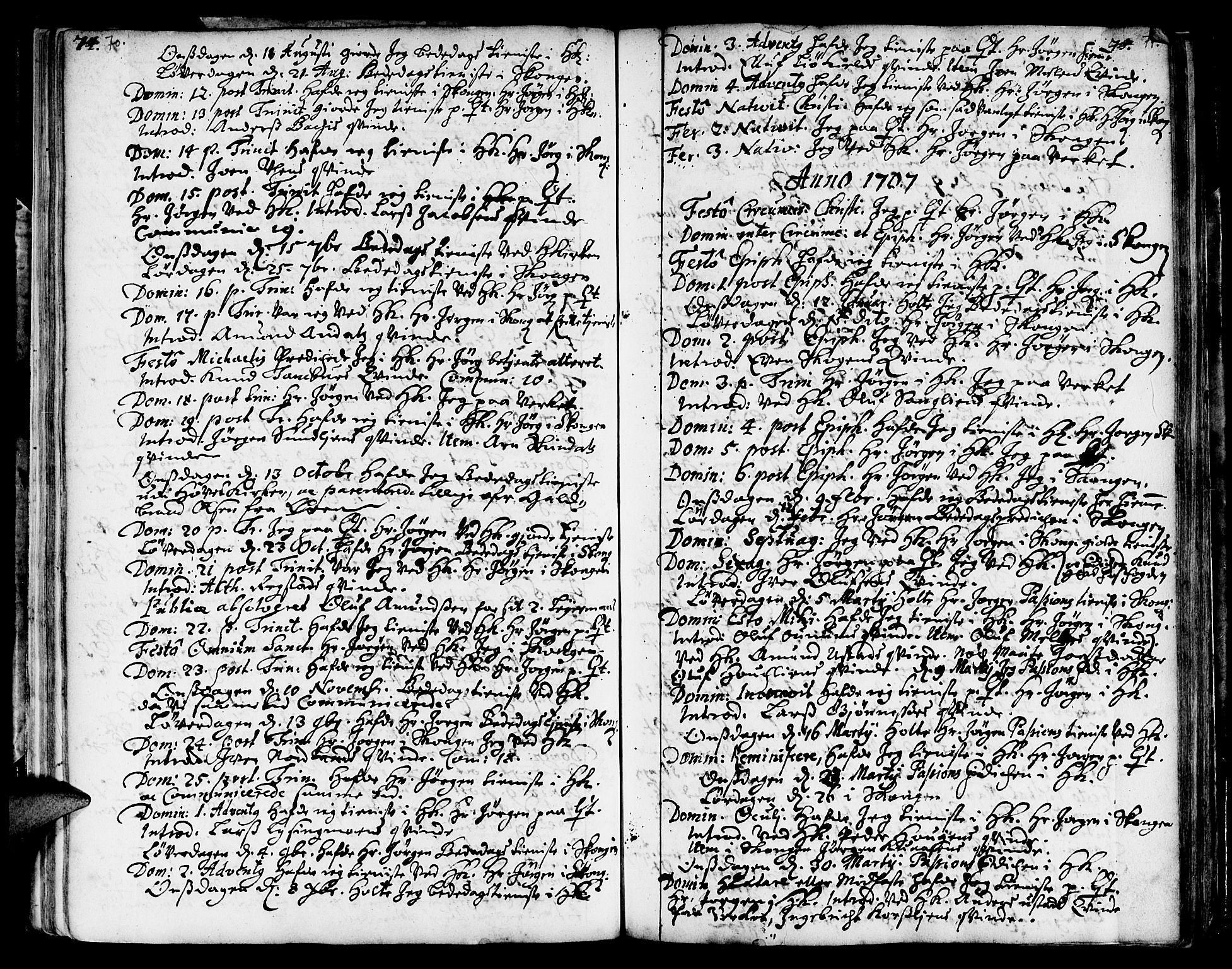 SAT, Ministerialprotokoller, klokkerbøker og fødselsregistre - Sør-Trøndelag, 668/L0801: Ministerialbok nr. 668A01, 1695-1716, s. 70-71