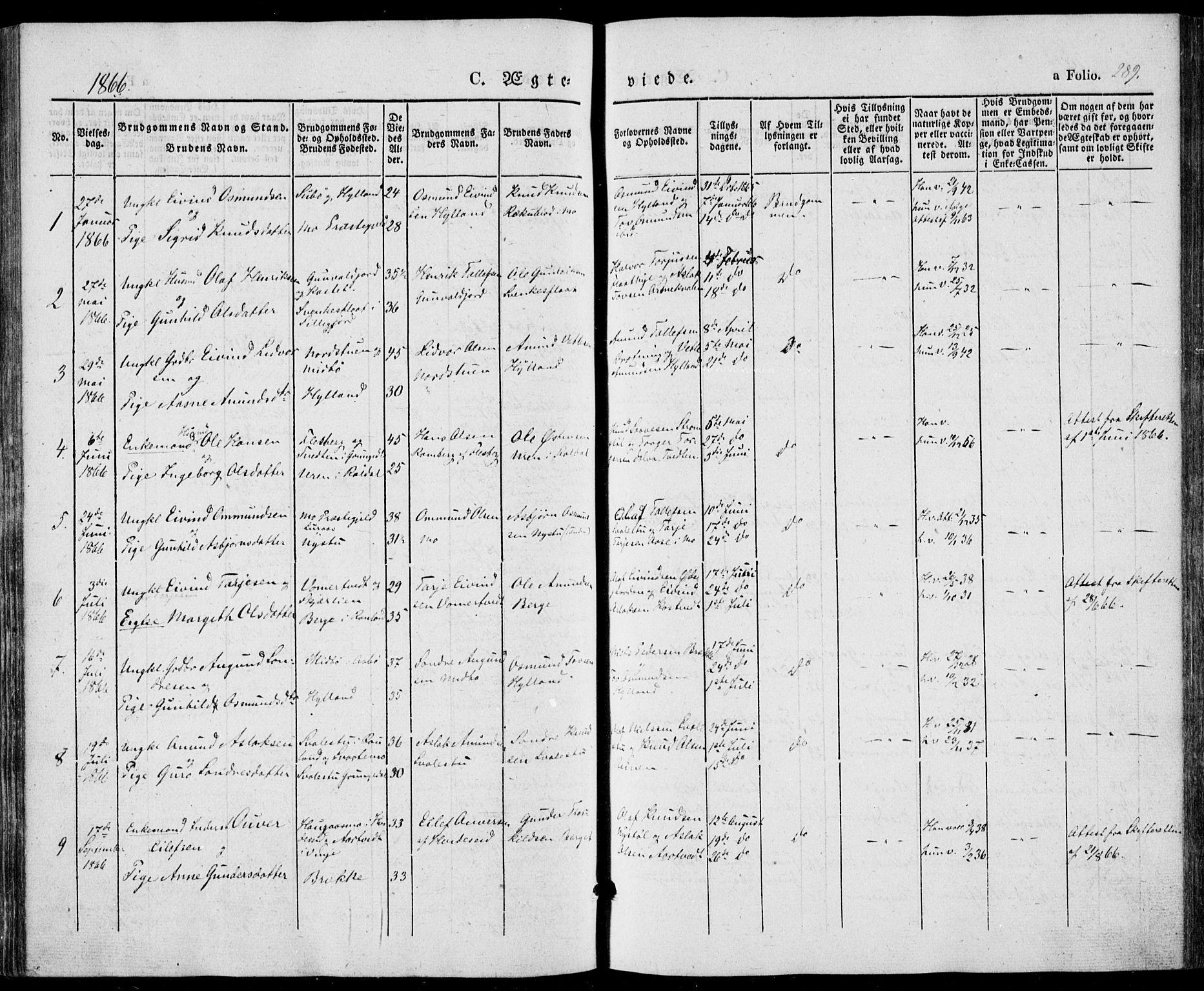 SAKO, Vinje kirkebøker, F/Fa/L0004: Ministerialbok nr. I 4, 1843-1869, s. 289