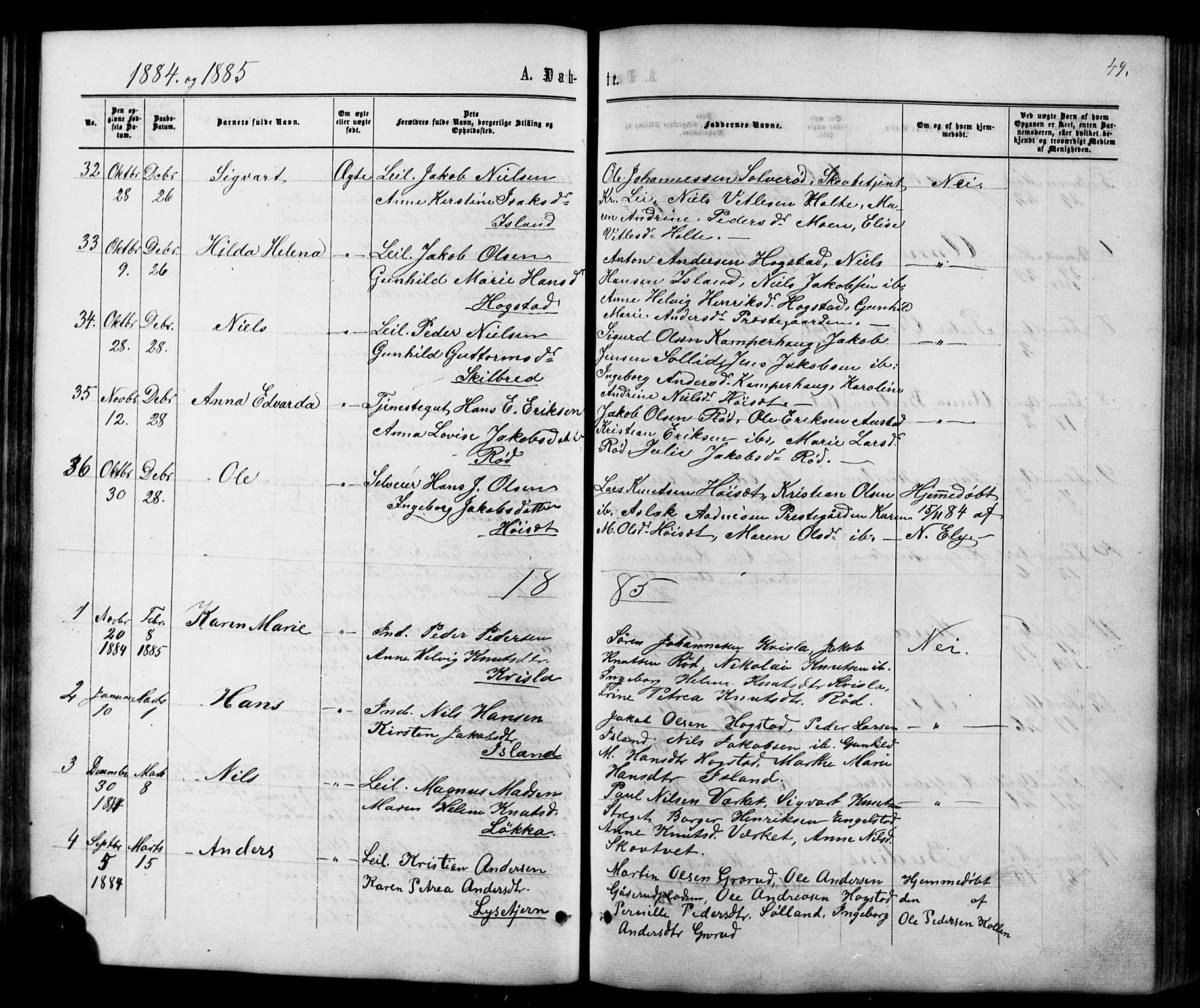 SAKO, Siljan kirkebøker, G/Ga/L0002: Klokkerbok nr. 2, 1864-1908, s. 49