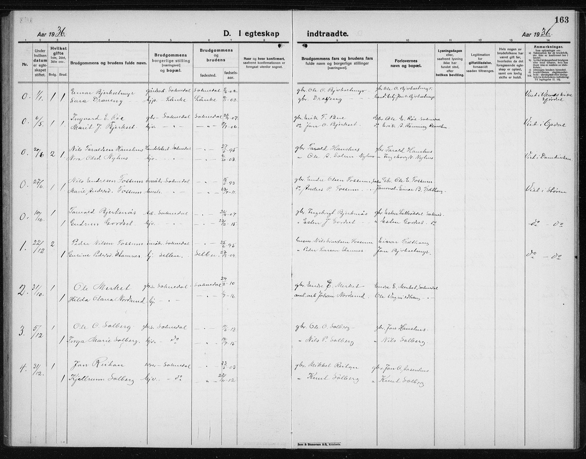 SAT, Ministerialprotokoller, klokkerbøker og fødselsregistre - Sør-Trøndelag, 689/L1045: Klokkerbok nr. 689C04, 1923-1940, s. 163