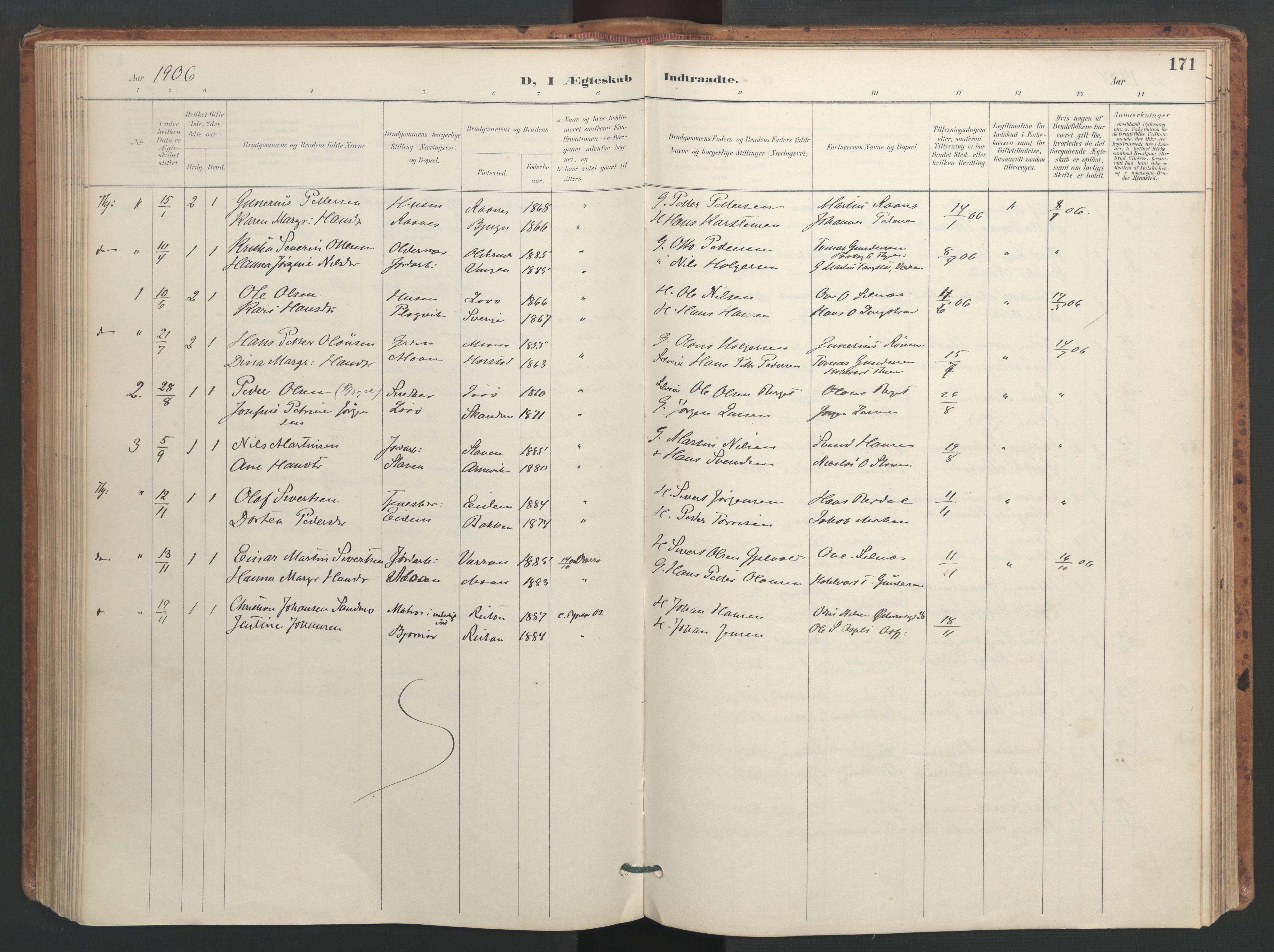 SAT, Ministerialprotokoller, klokkerbøker og fødselsregistre - Sør-Trøndelag, 655/L0681: Ministerialbok nr. 655A10, 1895-1907, s. 171