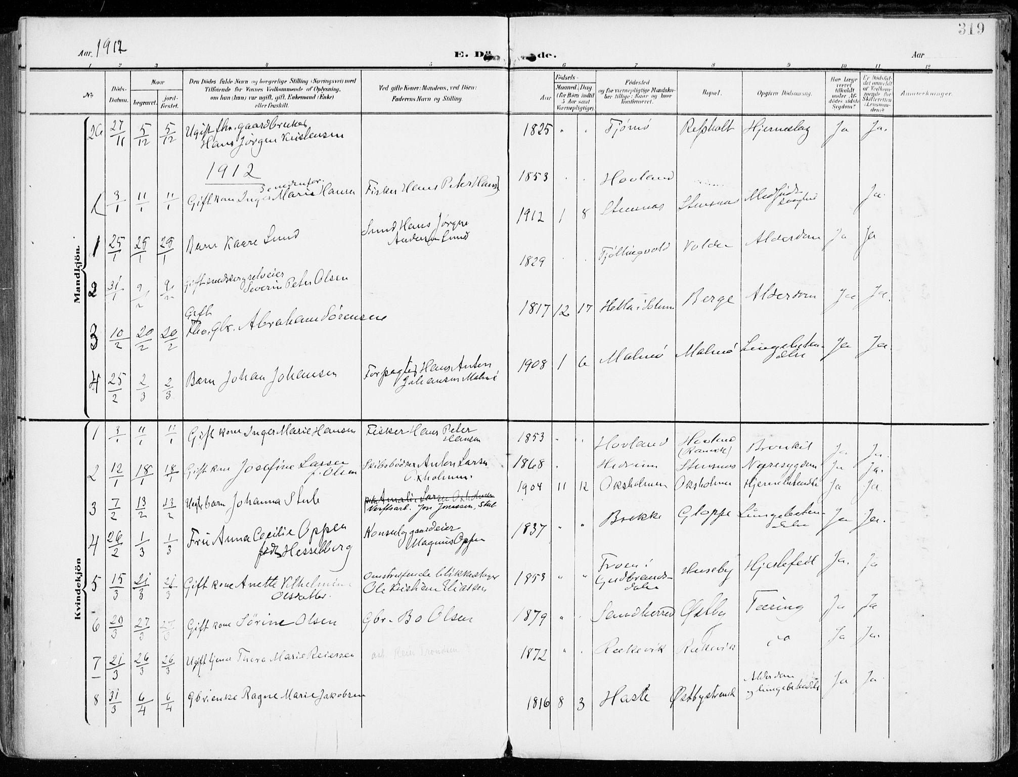 SAKO, Tjølling kirkebøker, F/Fa/L0010: Ministerialbok nr. 10, 1906-1923, s. 319
