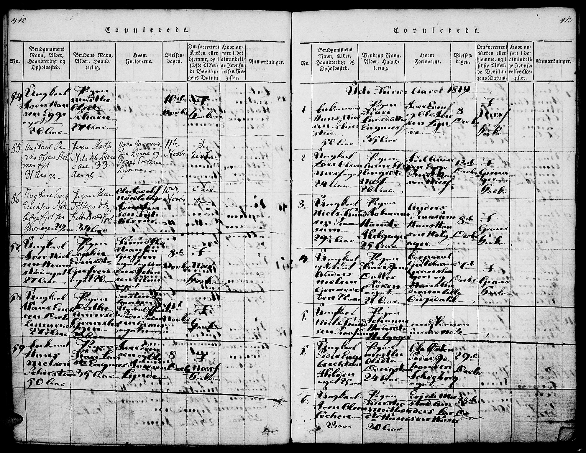 SAH, Gran prestekontor, Ministerialbok nr. 9, 1815-1824, s. 412-413