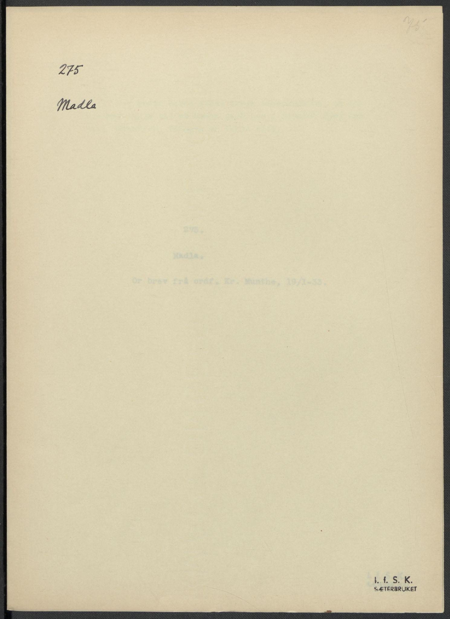 RA, Instituttet for sammenlignende kulturforskning, F/Fc/L0009: Eske B9:, 1932-1935, s. 75