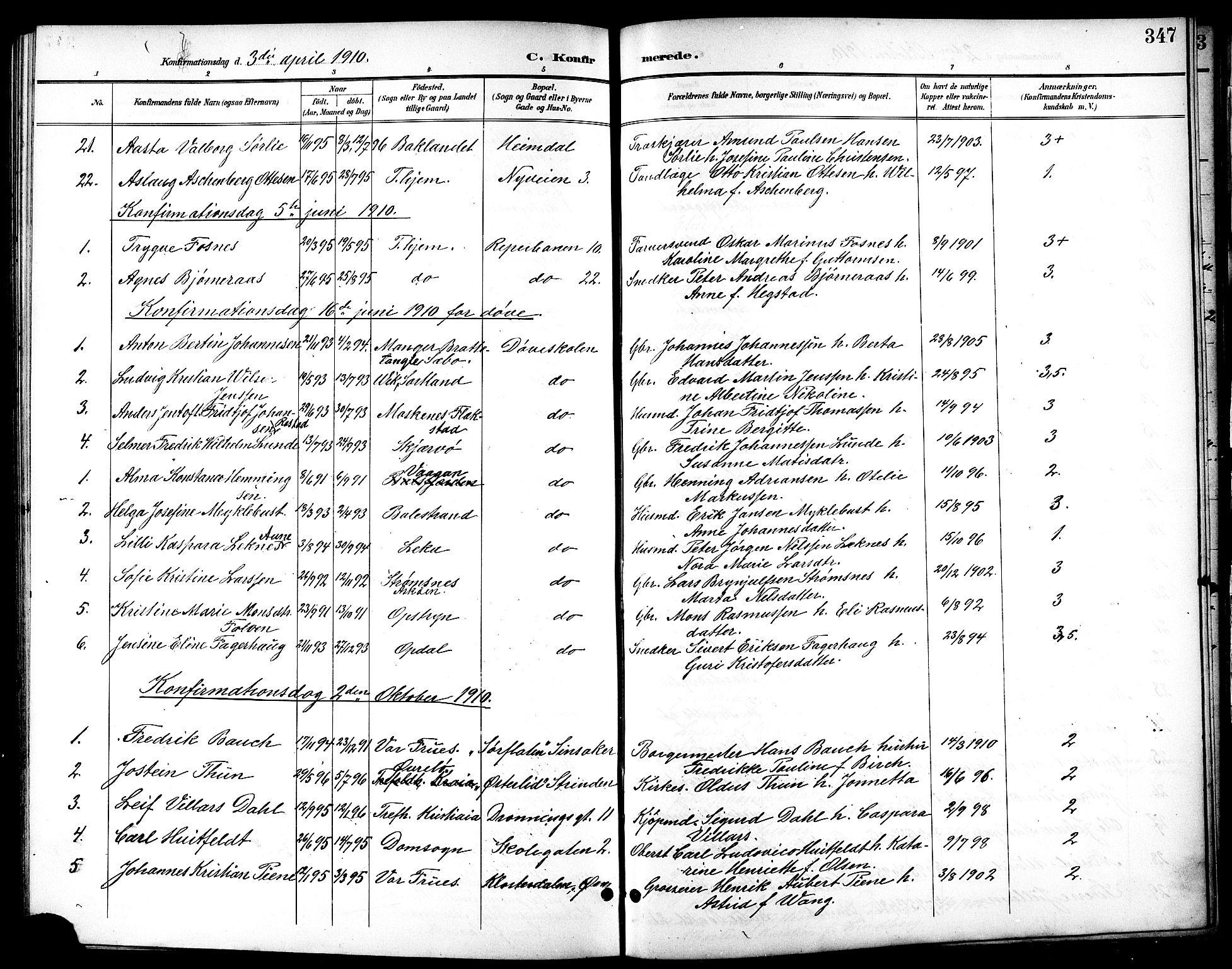 SAT, Ministerialprotokoller, klokkerbøker og fødselsregistre - Sør-Trøndelag, 601/L0094: Klokkerbok nr. 601C12, 1898-1911, s. 347