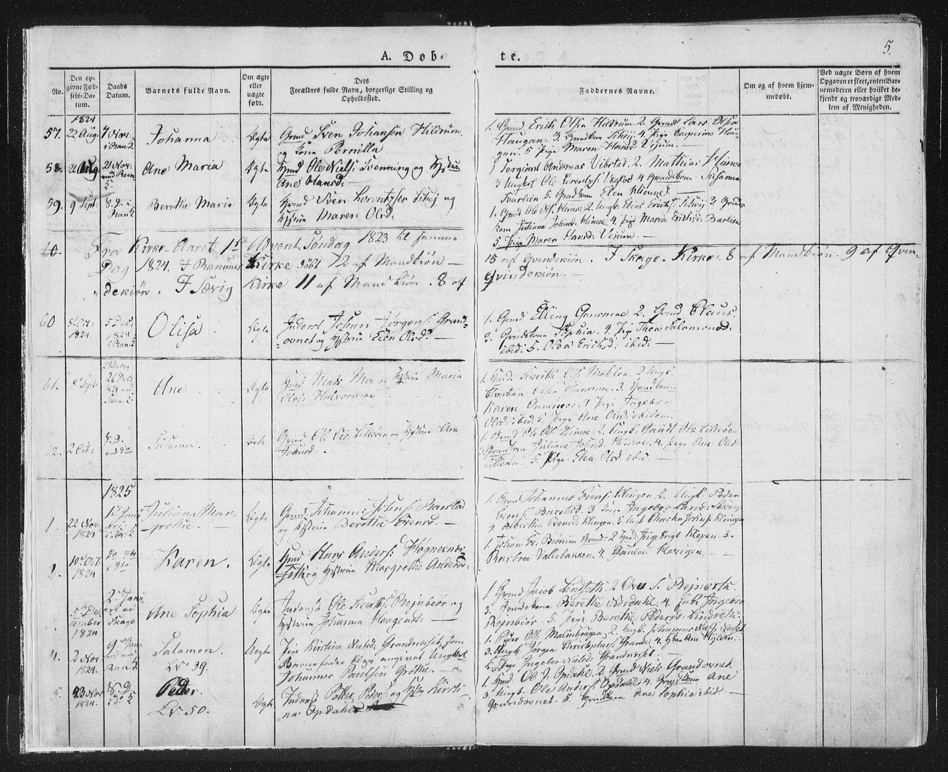 SAT, Ministerialprotokoller, klokkerbøker og fødselsregistre - Nord-Trøndelag, 764/L0551: Ministerialbok nr. 764A07a, 1824-1864, s. 5