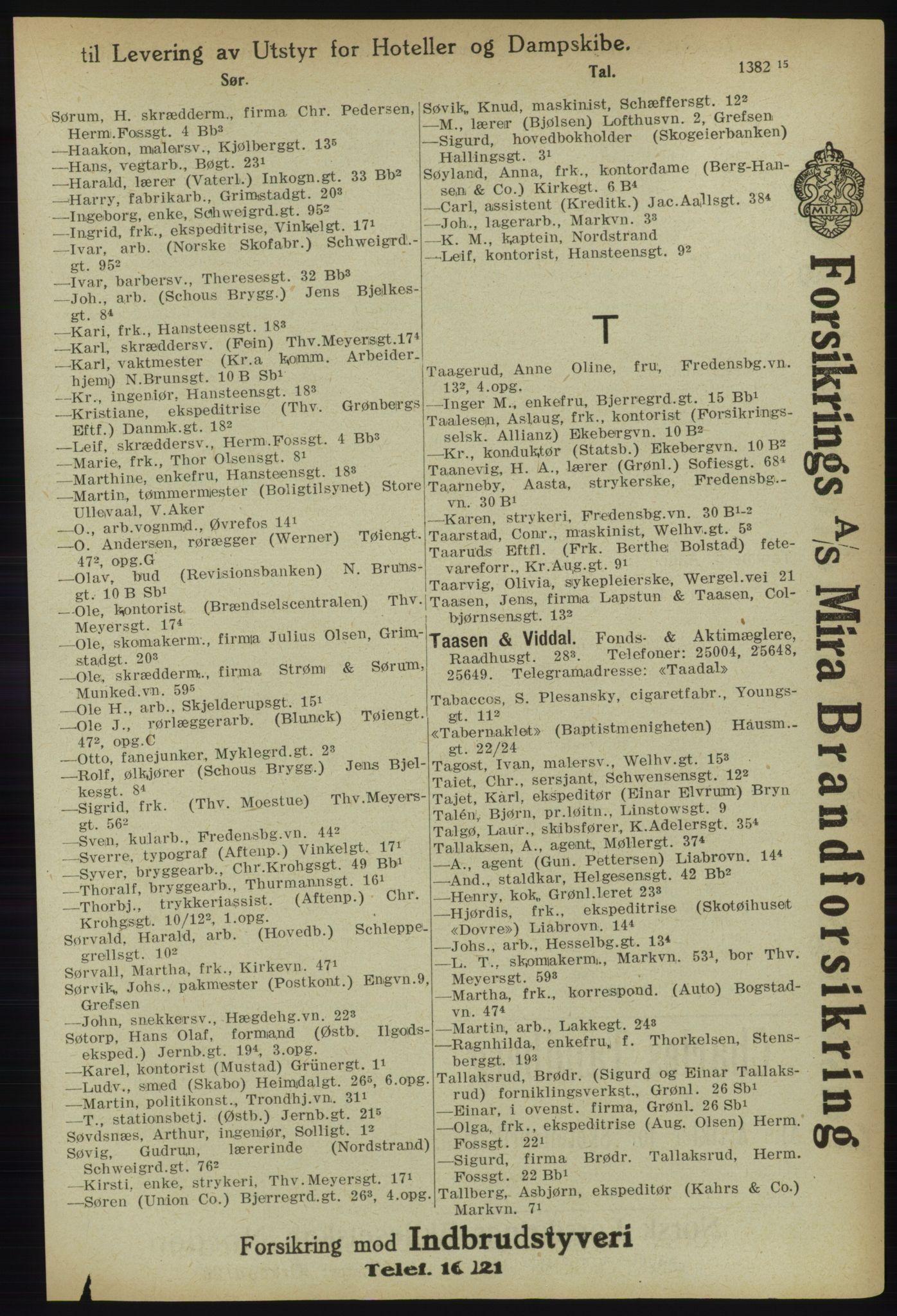 RA, Kristiania adressebok (publikasjon)*, 1918, s. 1388