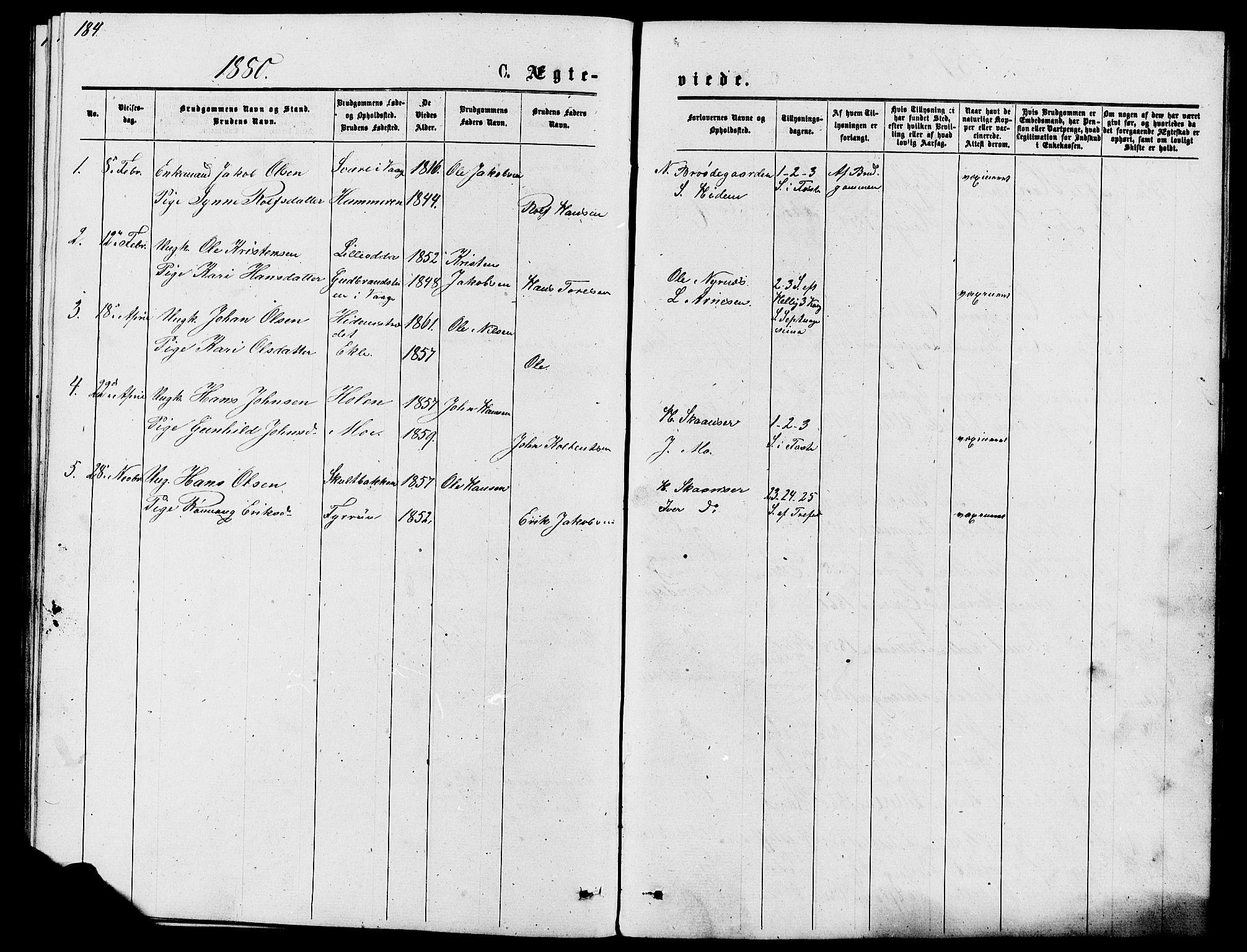 SAH, Lom prestekontor, L/L0005: Klokkerbok nr. 5, 1876-1901, s. 184-185