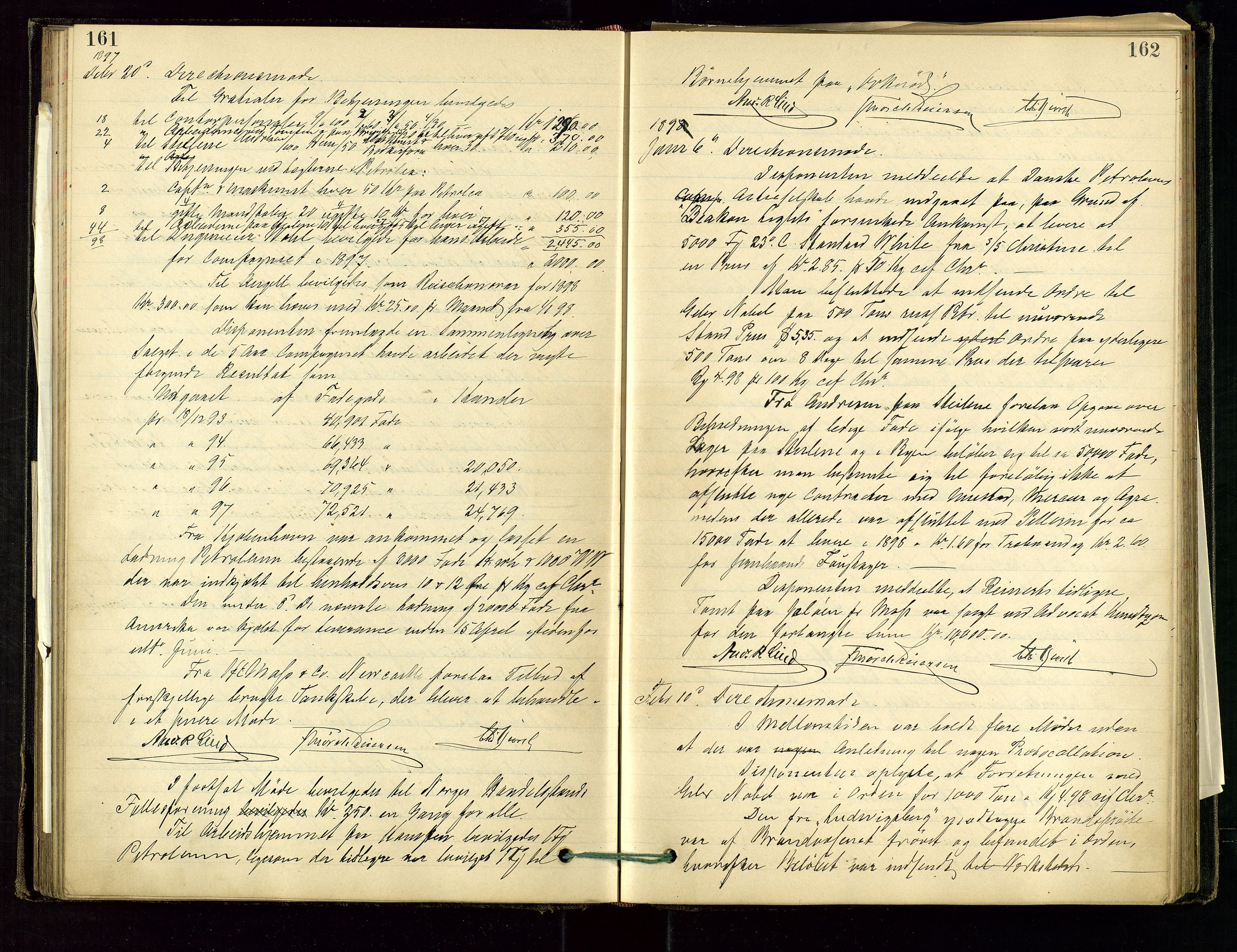 SAST, PA 1534 - Østlandske Petroleumscompagni A/S, A/Aa/L0001: Generalforsamlinger og direksjonsprotokoller., 1892-1905, s. 161-162