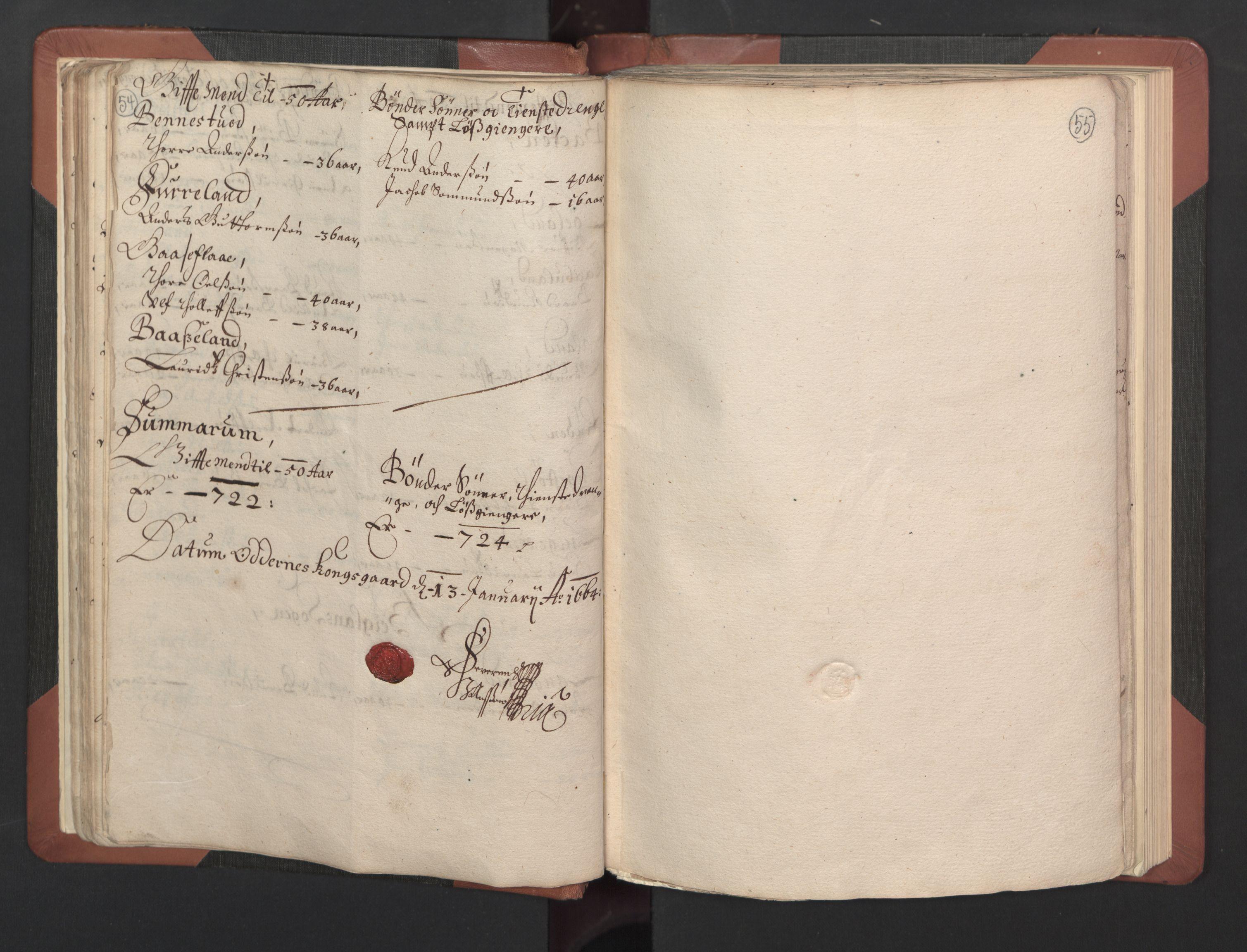 RA, Fogdenes og sorenskrivernes manntall 1664-1666, nr. 8: Råbyggelaget fogderi, 1664-1665, s. 54-55