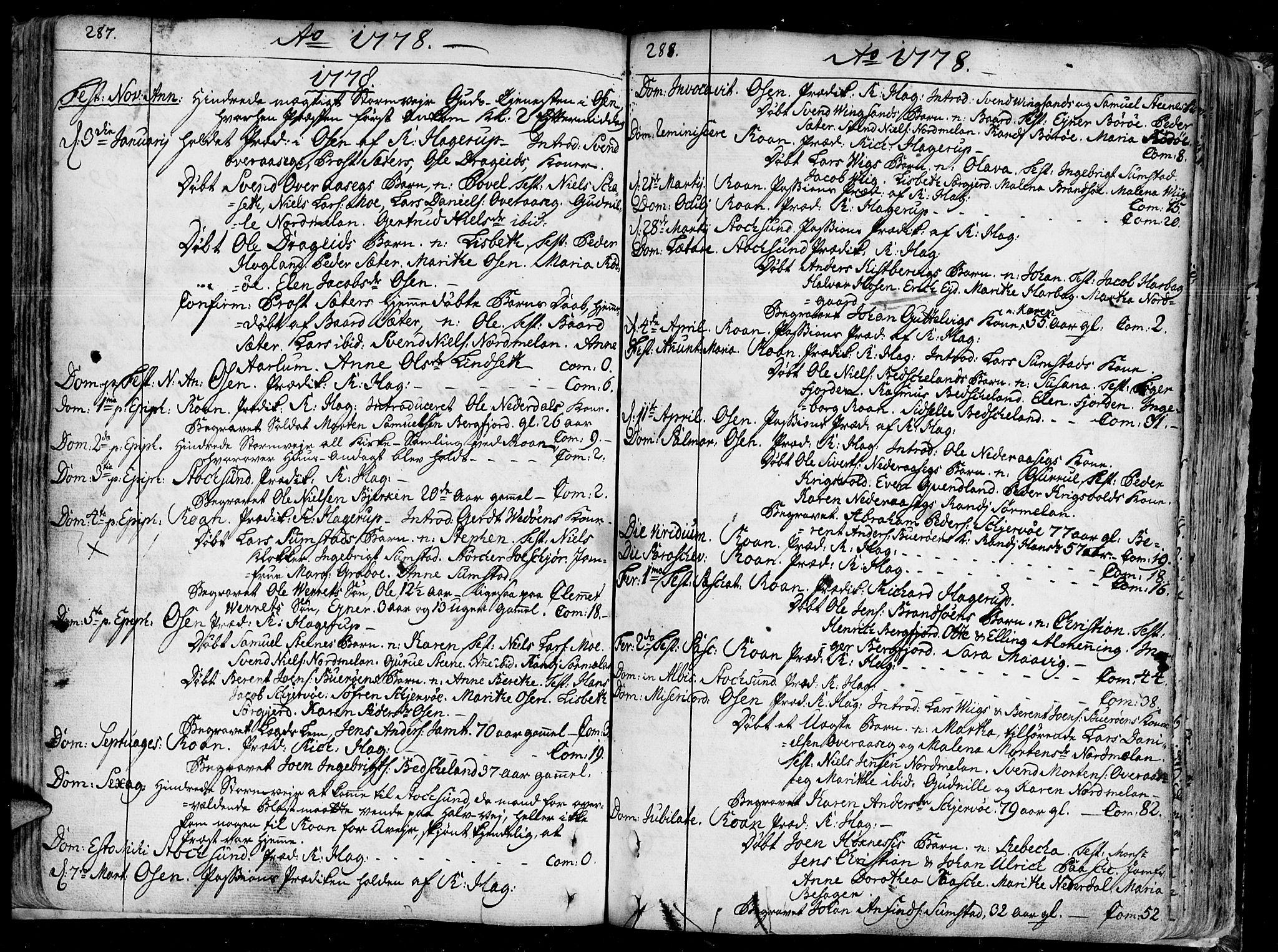 SAT, Ministerialprotokoller, klokkerbøker og fødselsregistre - Sør-Trøndelag, 657/L0700: Ministerialbok nr. 657A01, 1732-1801, s. 287-288